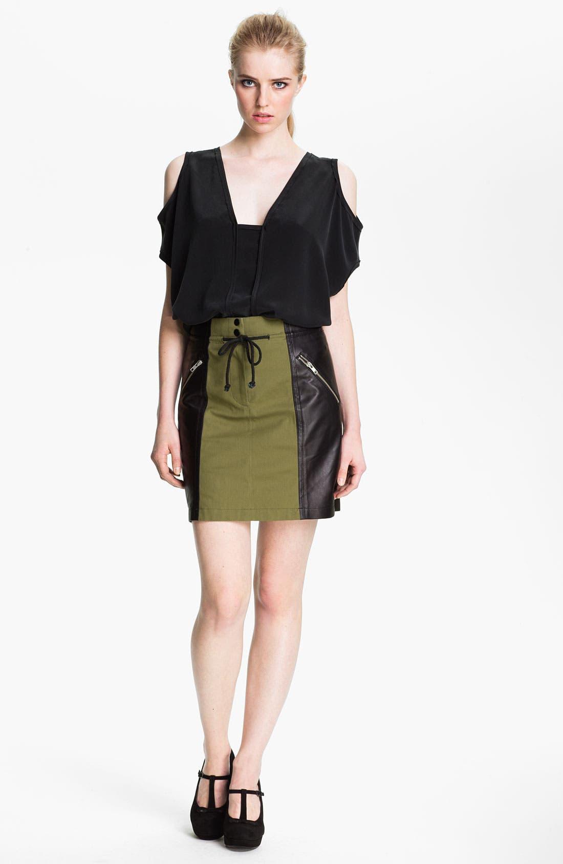 Alternate Image 3  - Cut25 Leather Panel Cotton Skirt