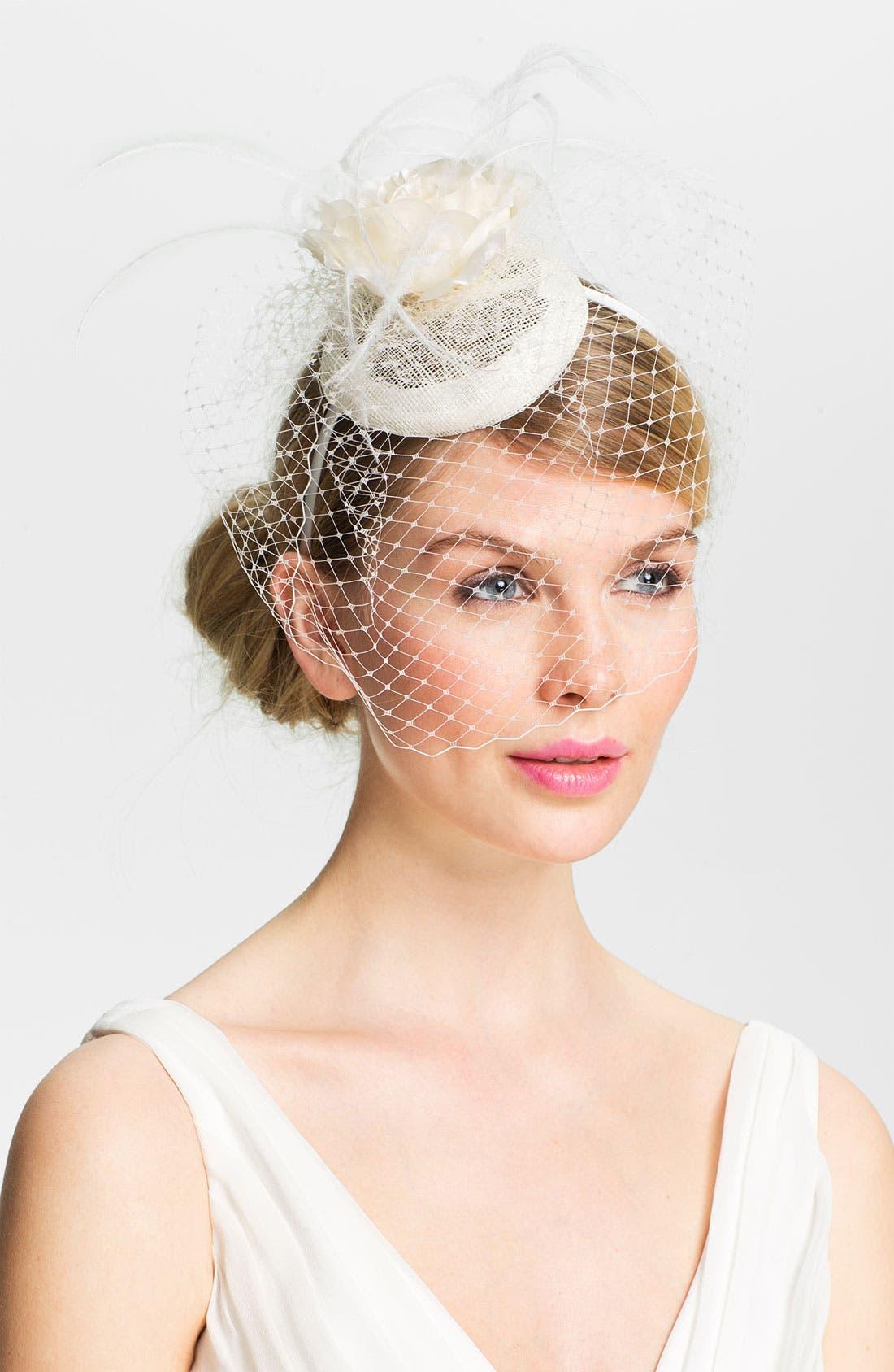 Main Image - Lauren Ralph Lauren Linen Rosebud Fascinator Headband