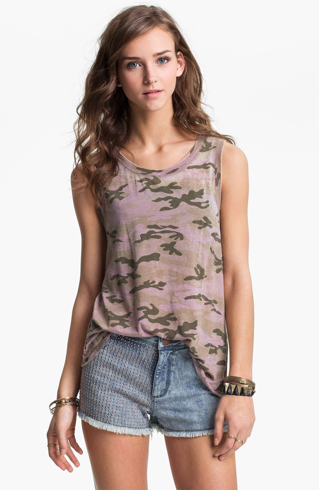 Alternate Image 1 Selected - Project Social T Envelope Back Camo Tank (Juniors)