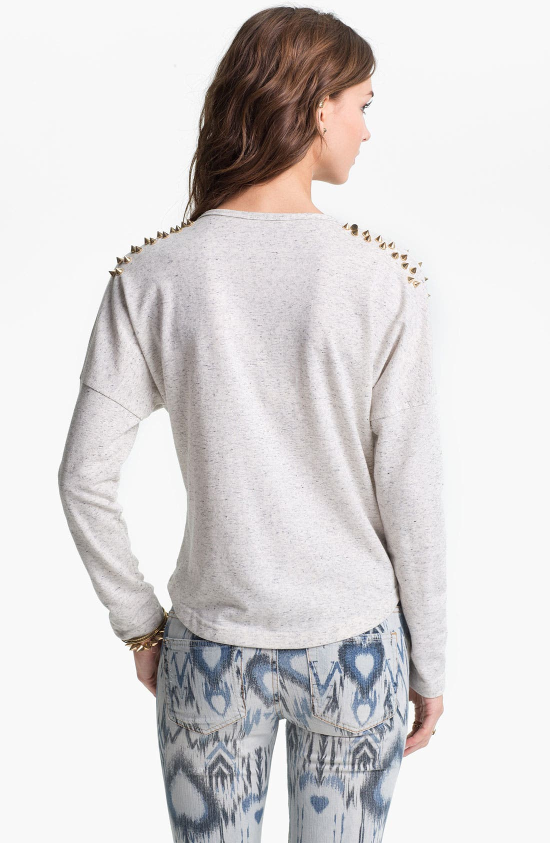 Alternate Image 2  - Double Zero Stud Shoulder Sweatshirt (Juniors)