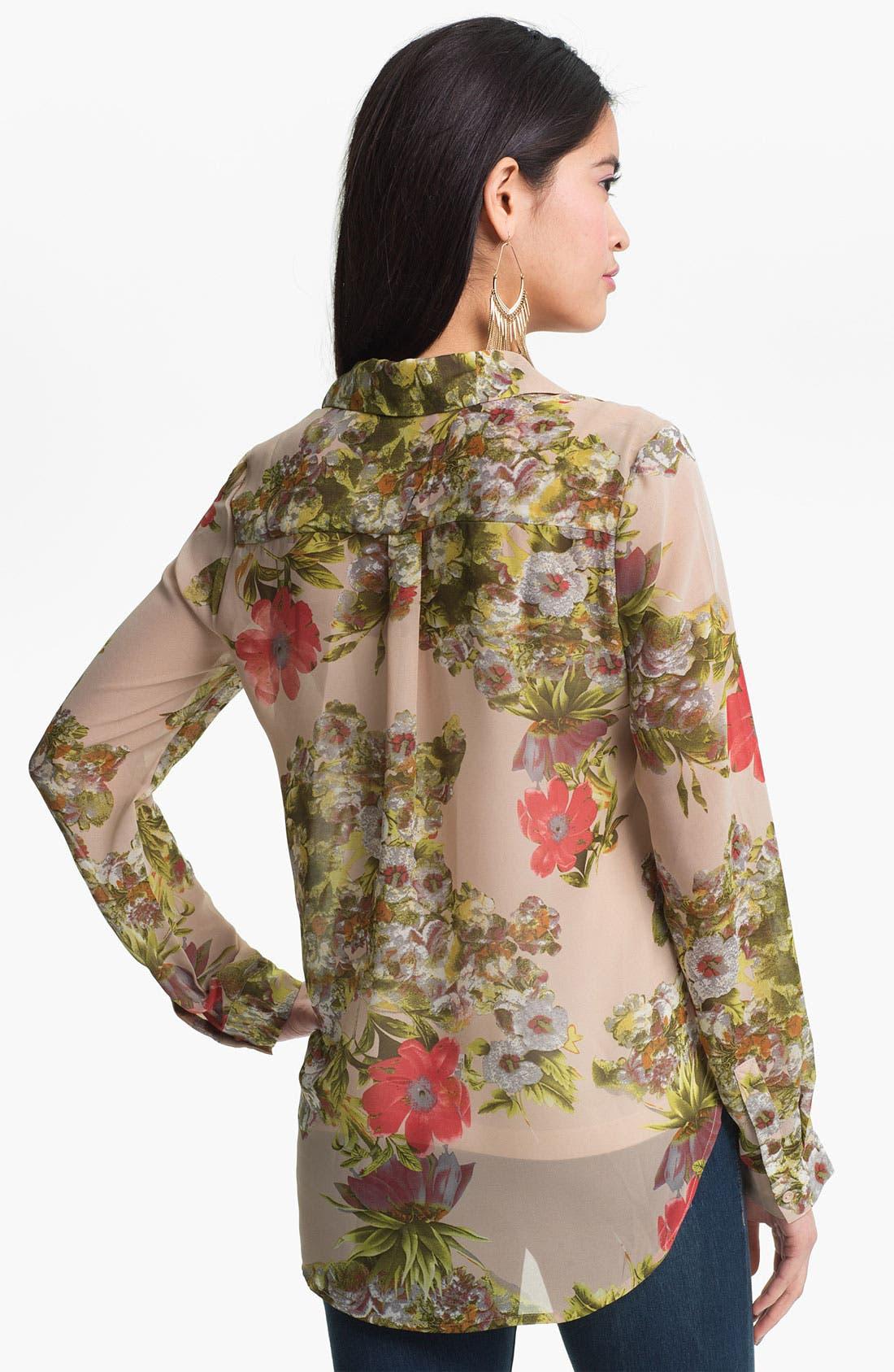 Alternate Image 2  - Liberty Love Tie Front Sheer Floral Shirt (Juniors)