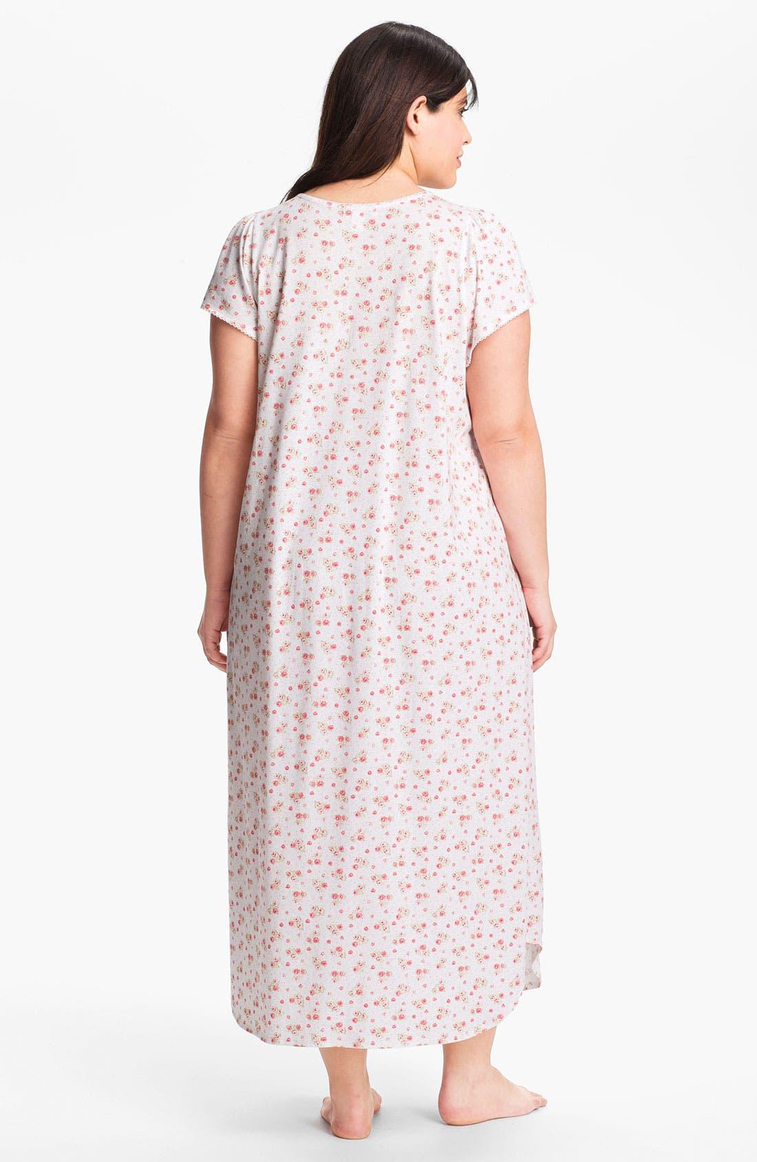 Alternate Image 2  - Carole Hochman Designs 'Rose Cottage' Nightgown (Plus)