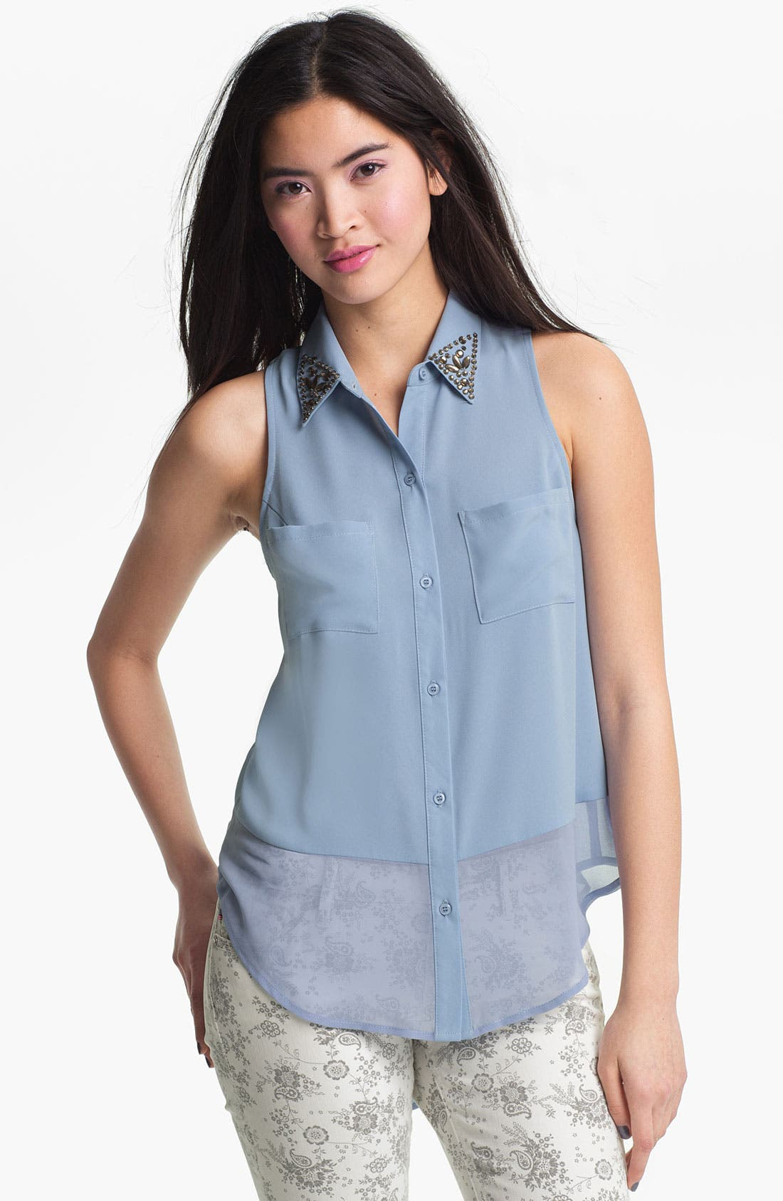 Main Image - Lush Stud Collar Sleeveless Shirt (Juniors)