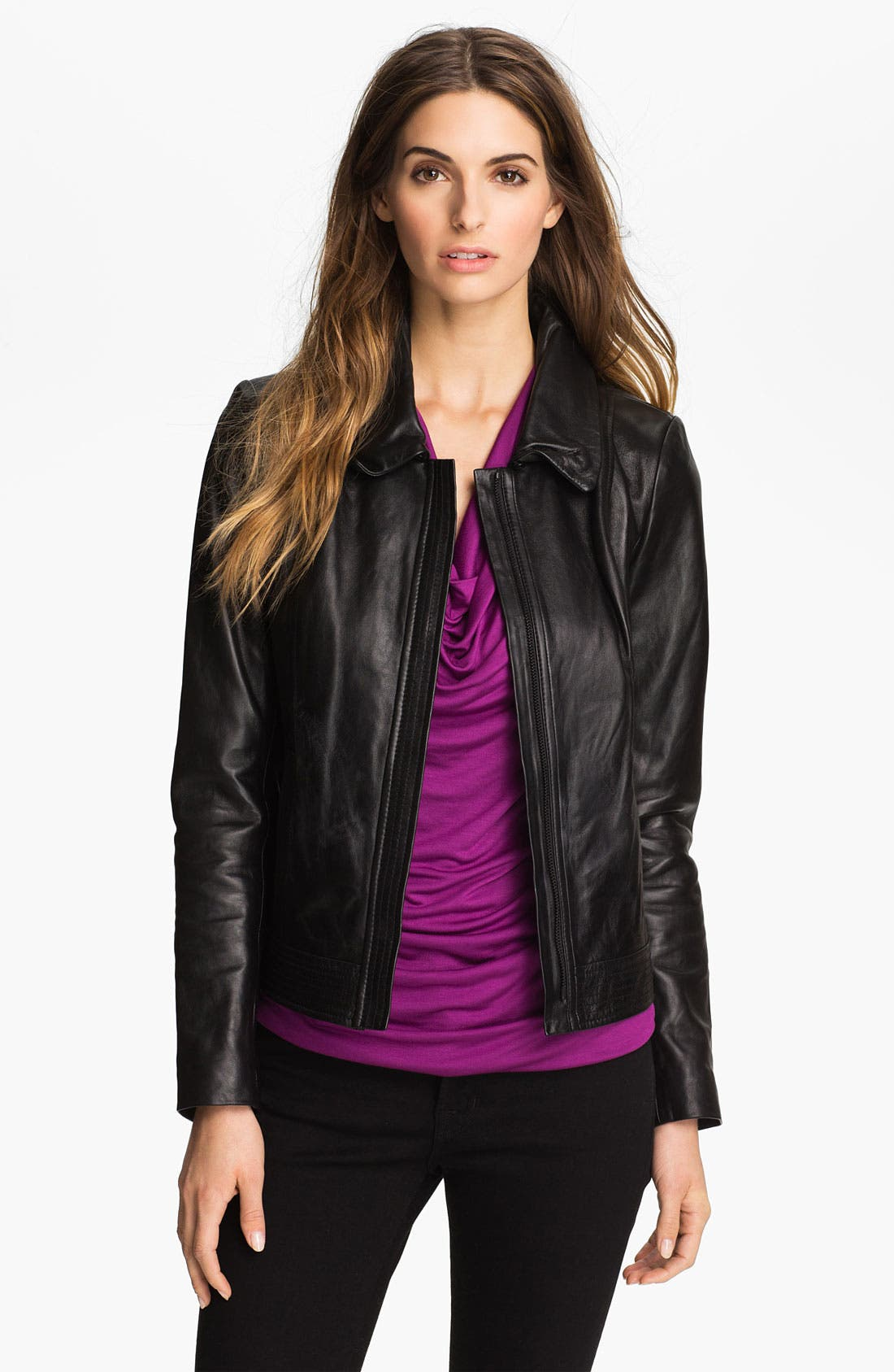 Main Image - Classiques Entier® 'Brenna' Leather Jacket with Faux Fur