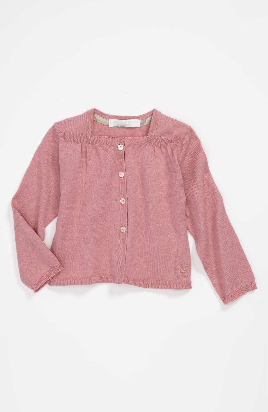 Main Image - Burberry 'Fleur' Knit Cardigan (Baby)