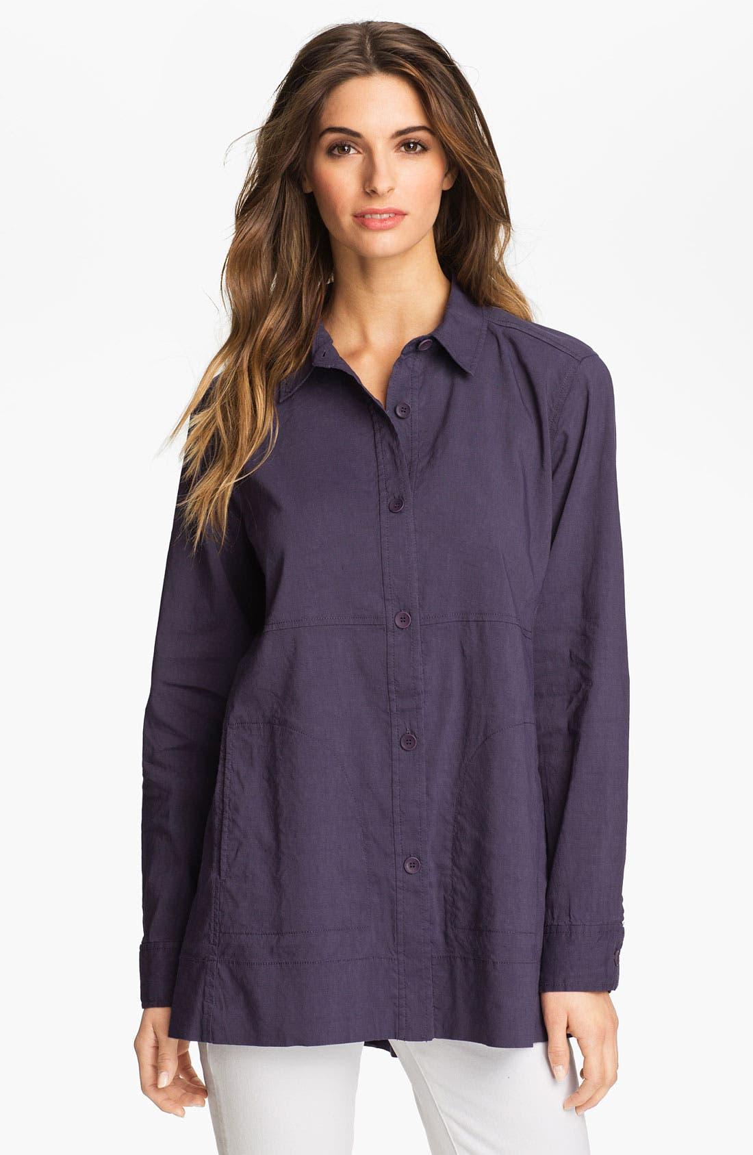 Alternate Image 1 Selected - Eileen Fisher Linen Blend Long Shirt