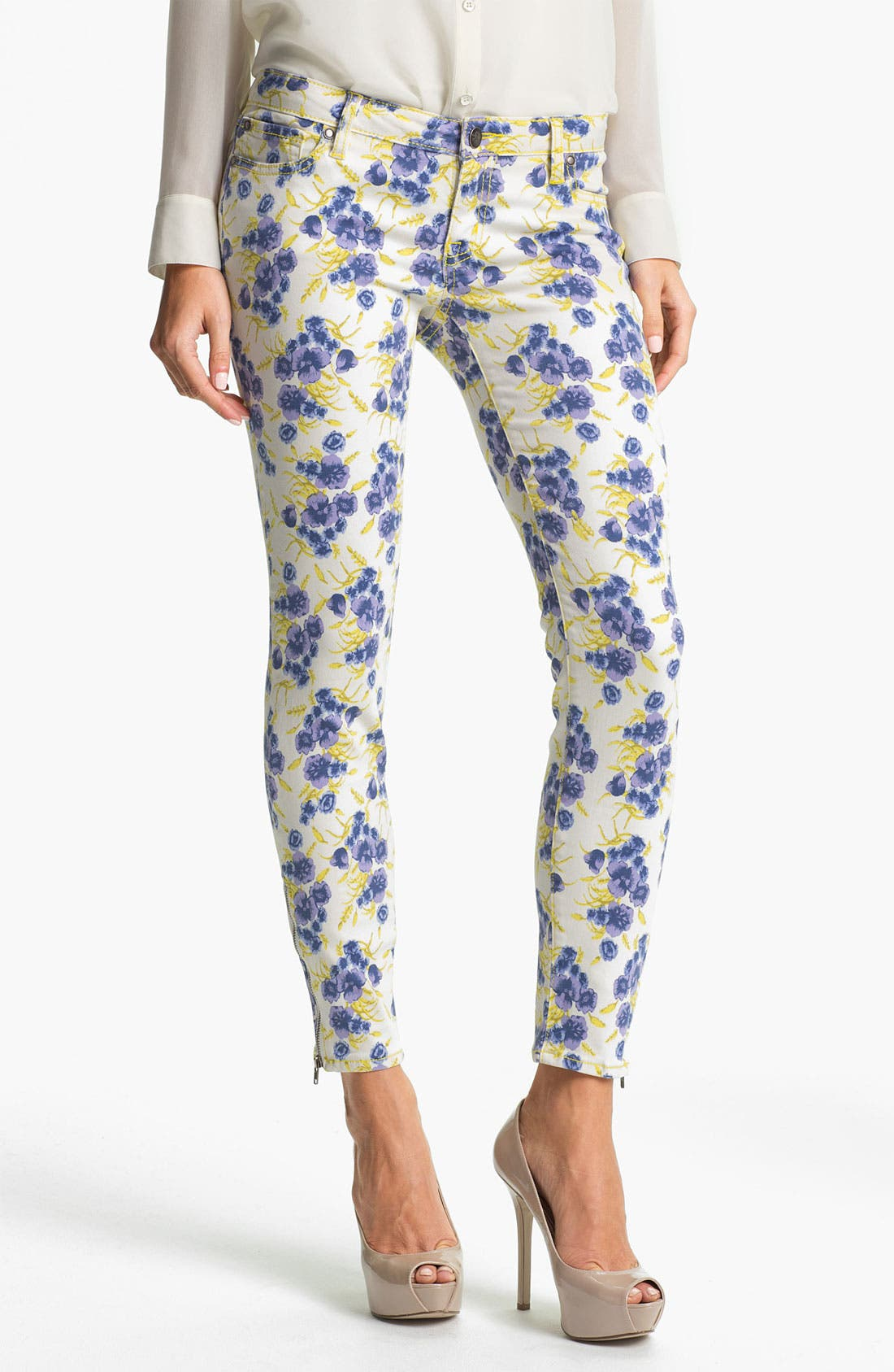 Main Image - Jessica Simpson 'Kiss Me' Print Zip Ankle Skinny Jeans (Online Exclusive)