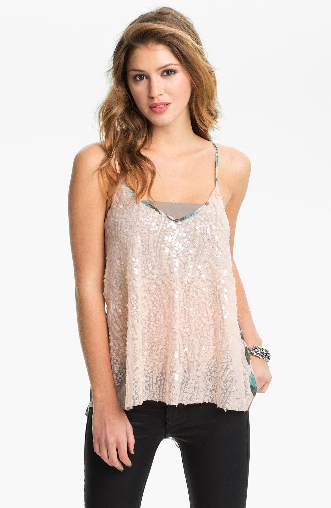 Main Image - Love Squared Mix Media Sequin Camisole (Juniors)