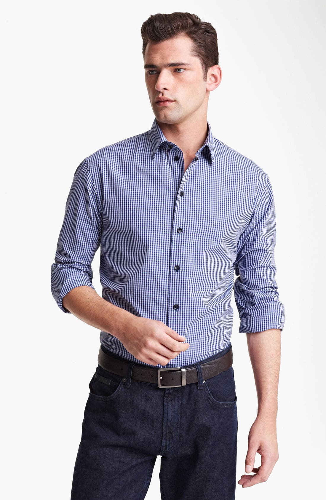 Main Image - Armani Collezioni Gingham Sport Shirt