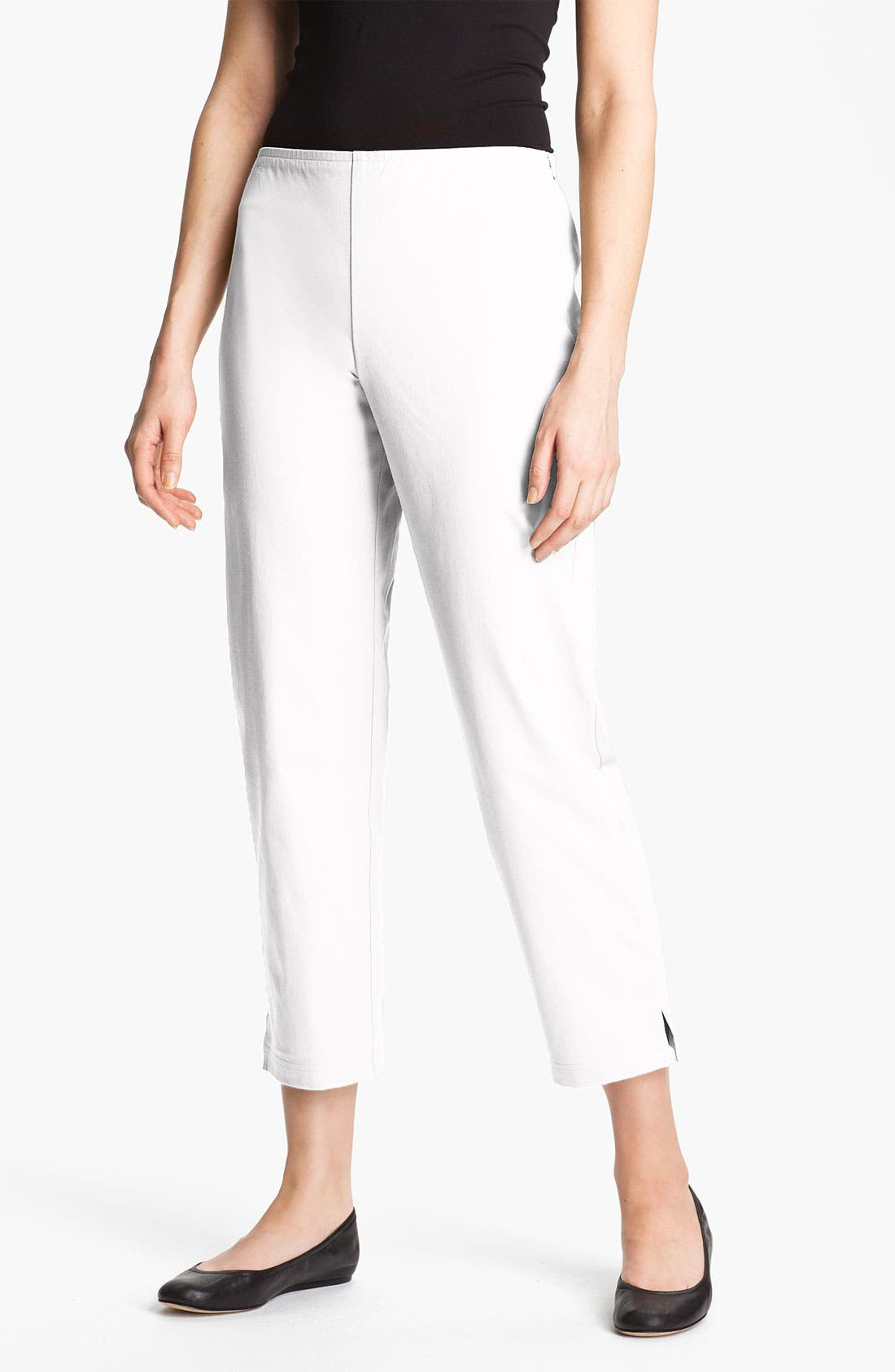 EILEEN FISHER Organic Stretch Cotton Twill Ankle Pants
