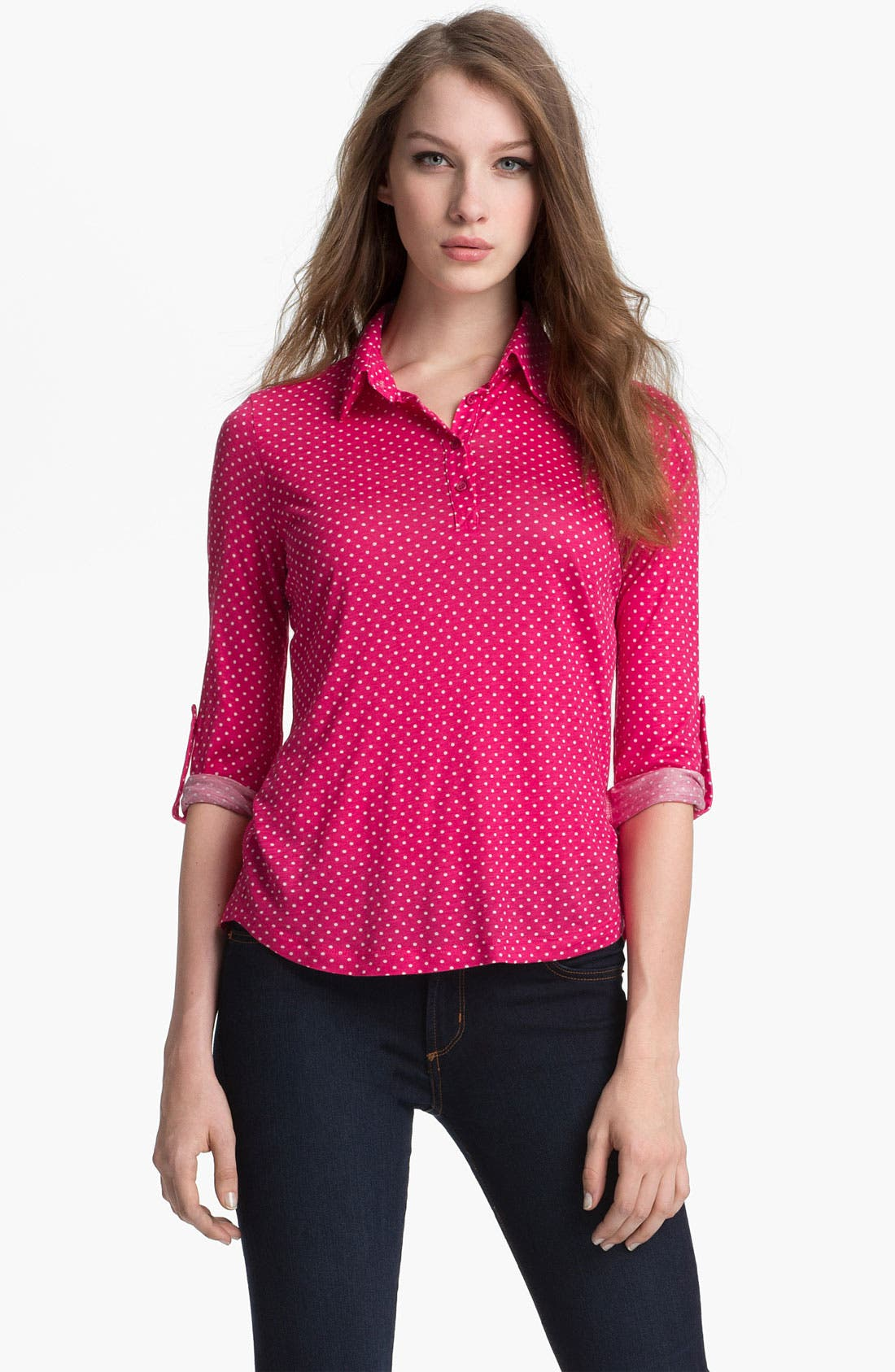 Main Image - Pleione Half Placket Mini Dot Top (Petite)