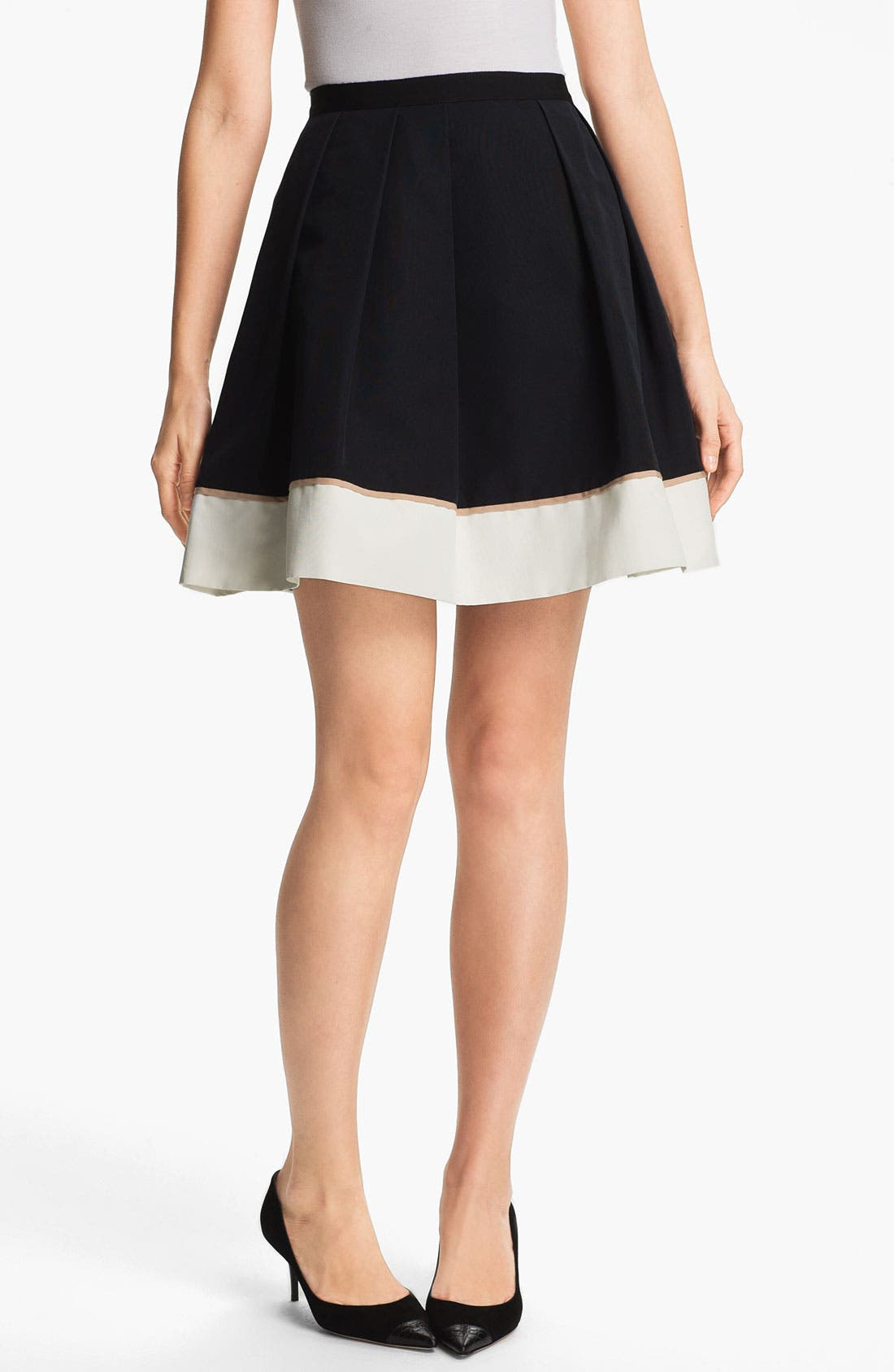 Main Image - Miss Wu Hem Detail Faille Skirt (Nordstrom Exclusive)