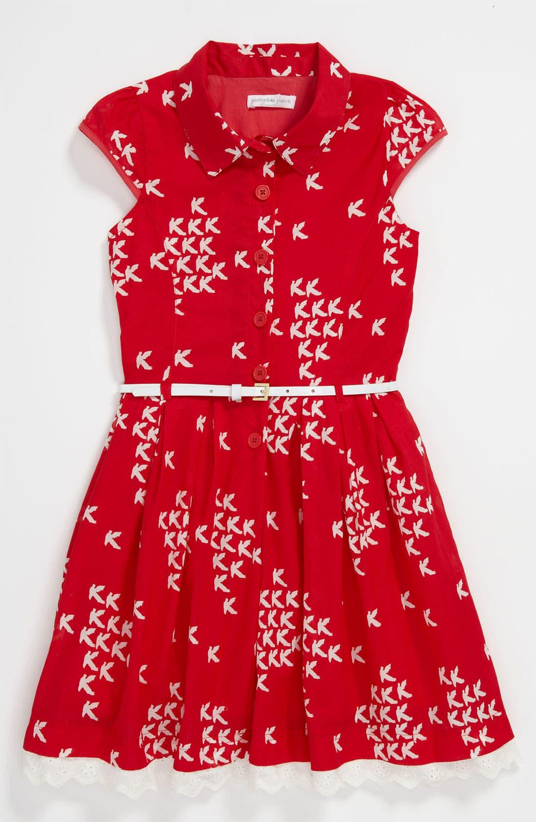 Alternate Image 1 Selected - Pumpkin Patch 'Bird' Button Front Dress (Little Girls & Big Girls)