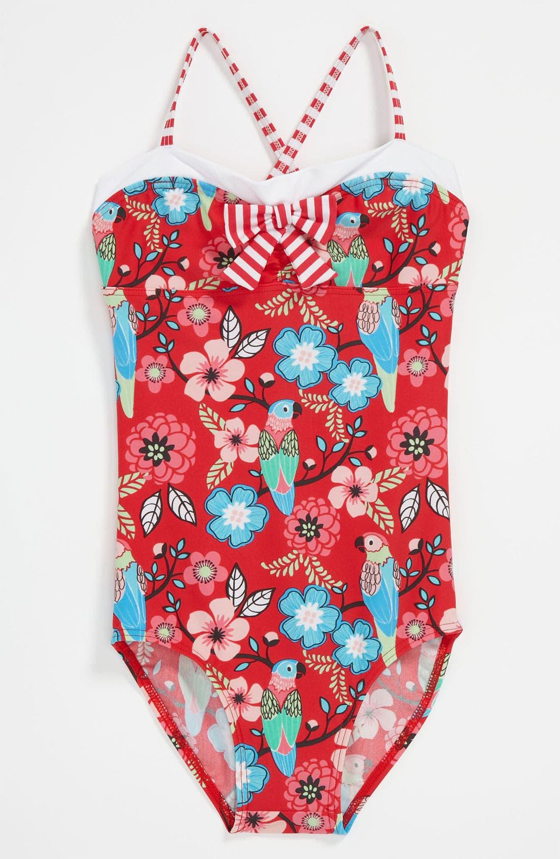 Main Image - Pumpkin Patch 'Parrot' Swimsuit (Little Girls & Big Girls)