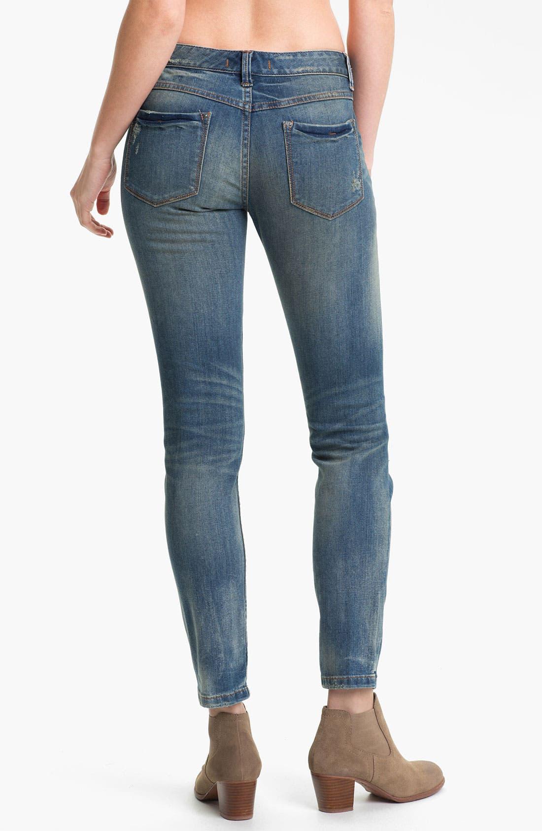 Alternate Image 2  - Free People Destroyed Stretch Skinny Jeans (Engineer)