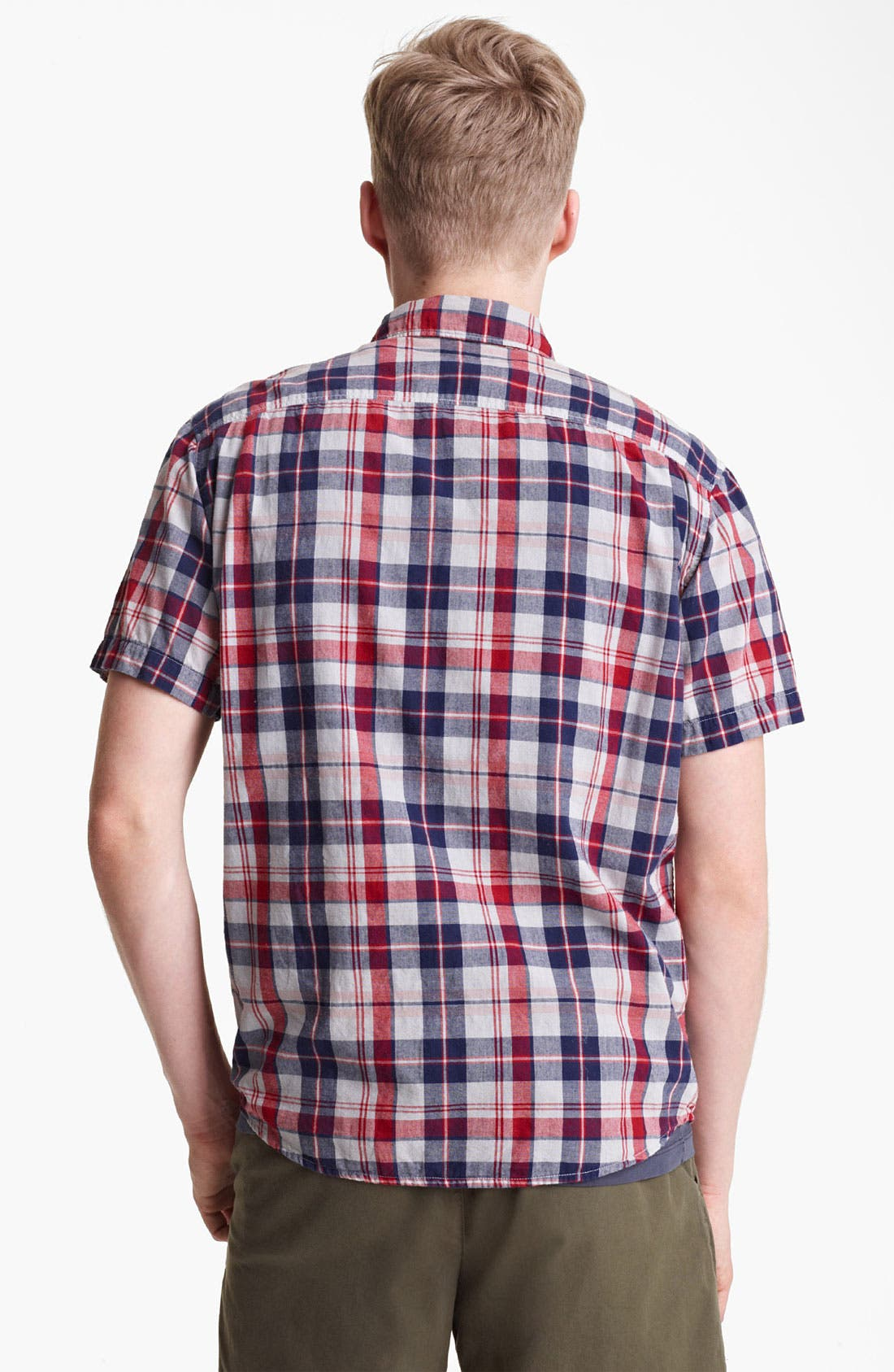 Alternate Image 2  - Save Khaki Madras Plaid Cotton Shirt