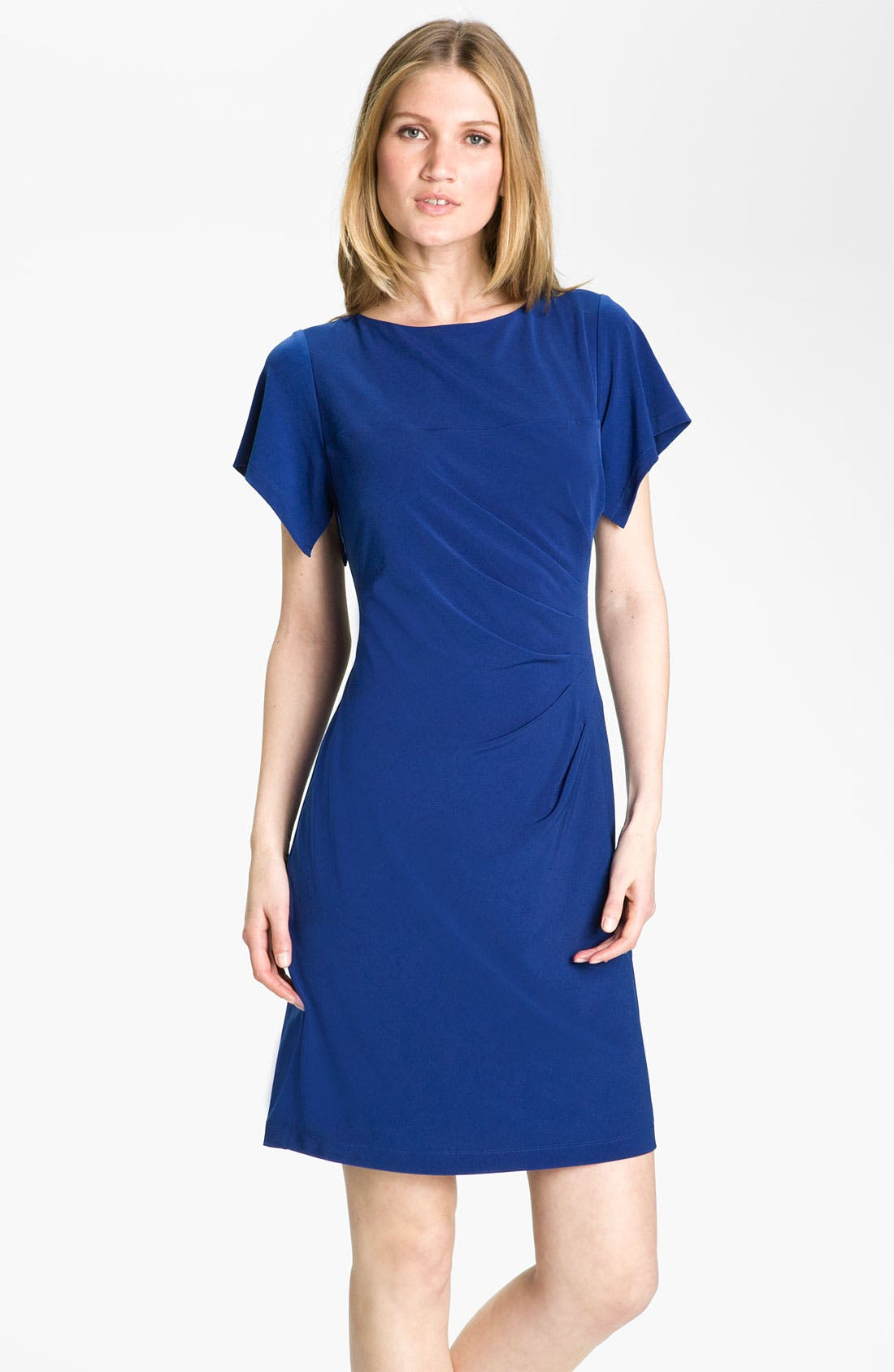 Alternate Image 1 Selected - Donna Ricco Flutter Sleeve Jersey Dress (Petite)