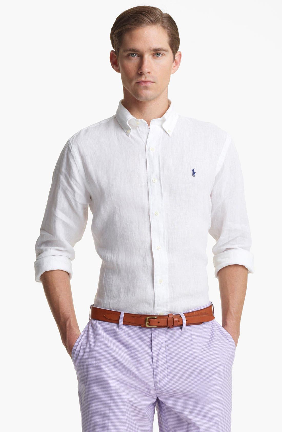 Alternate Image 1 Selected - Polo Ralph Lauren Custom Fit Linen Sport Shirt