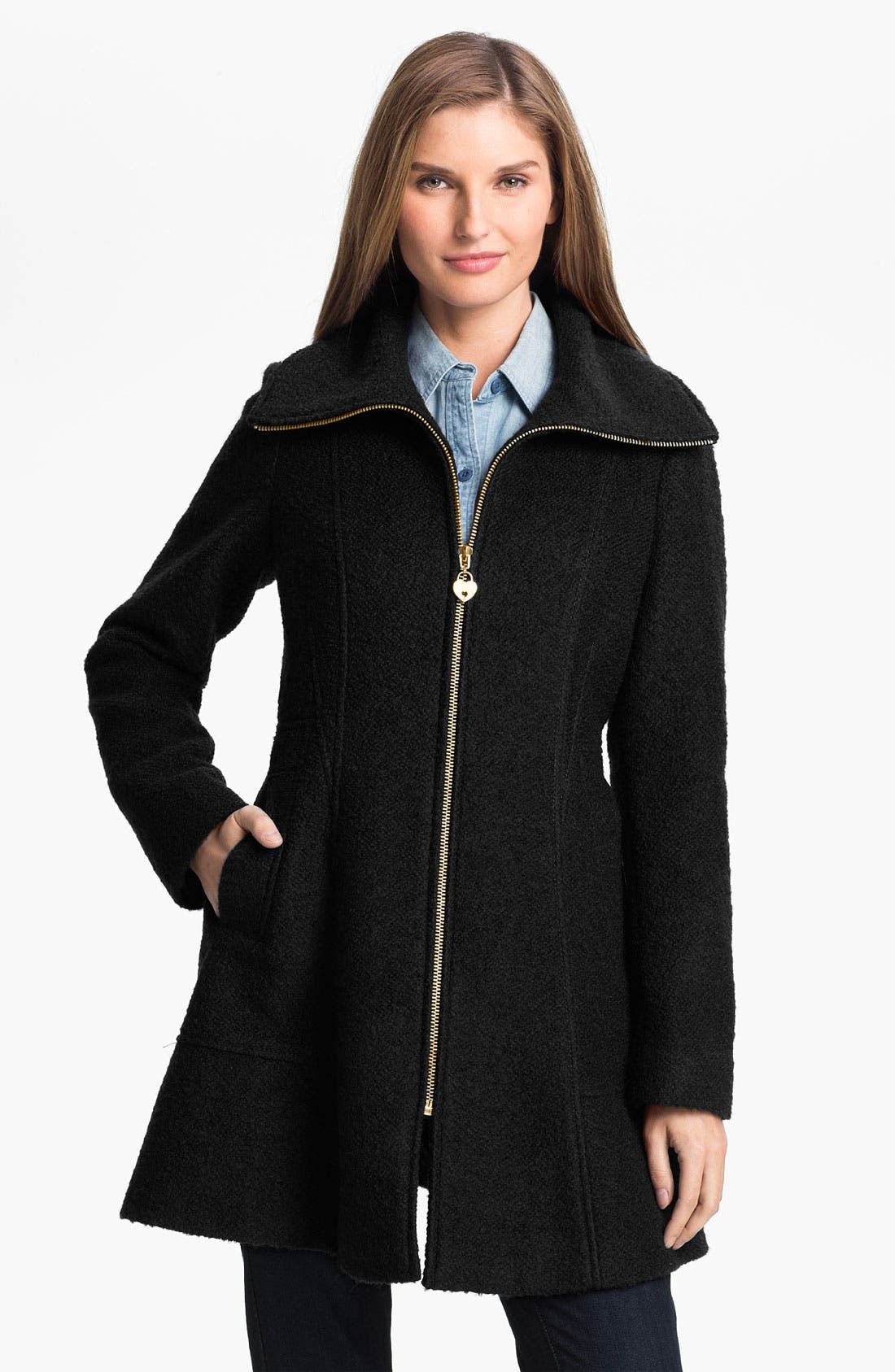 Main Image - GUESS Bouclé Walking Coat (Petite) (Online Exclusive)