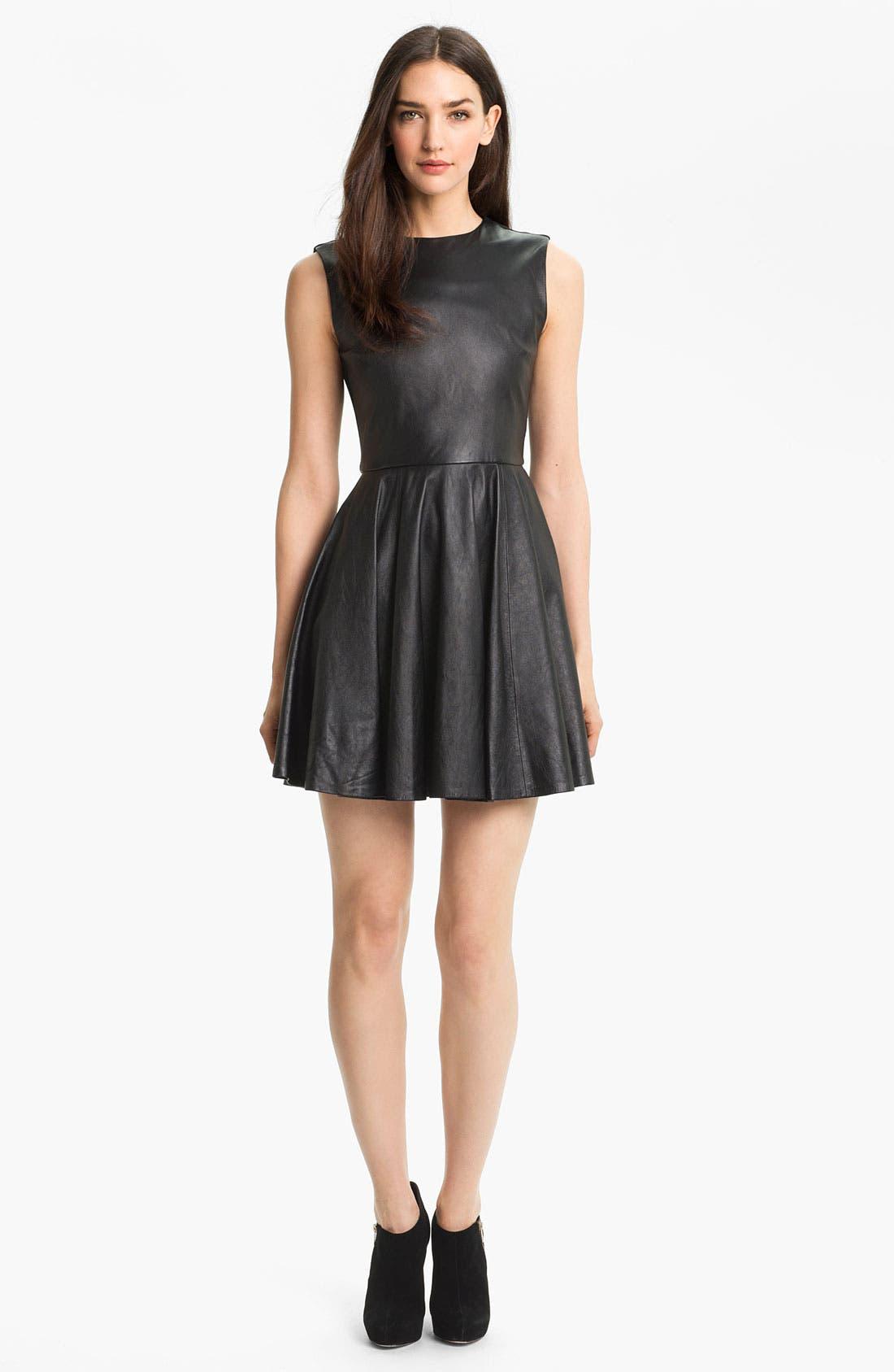 Alternate Image 1 Selected - Diane von Furstenberg 'Jeannie' Leather Fit & Flare Dress