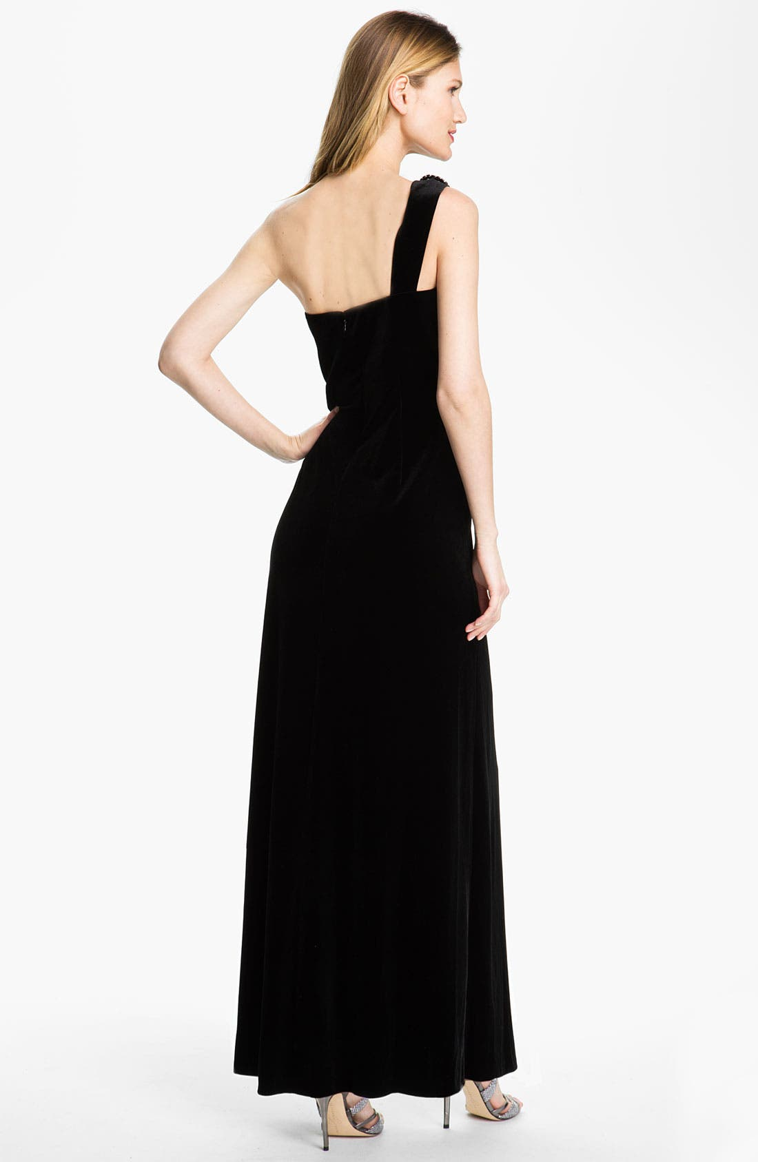 Alternate Image 2  - Alex Evenings One Shoulder Velvet Gown (Petite)