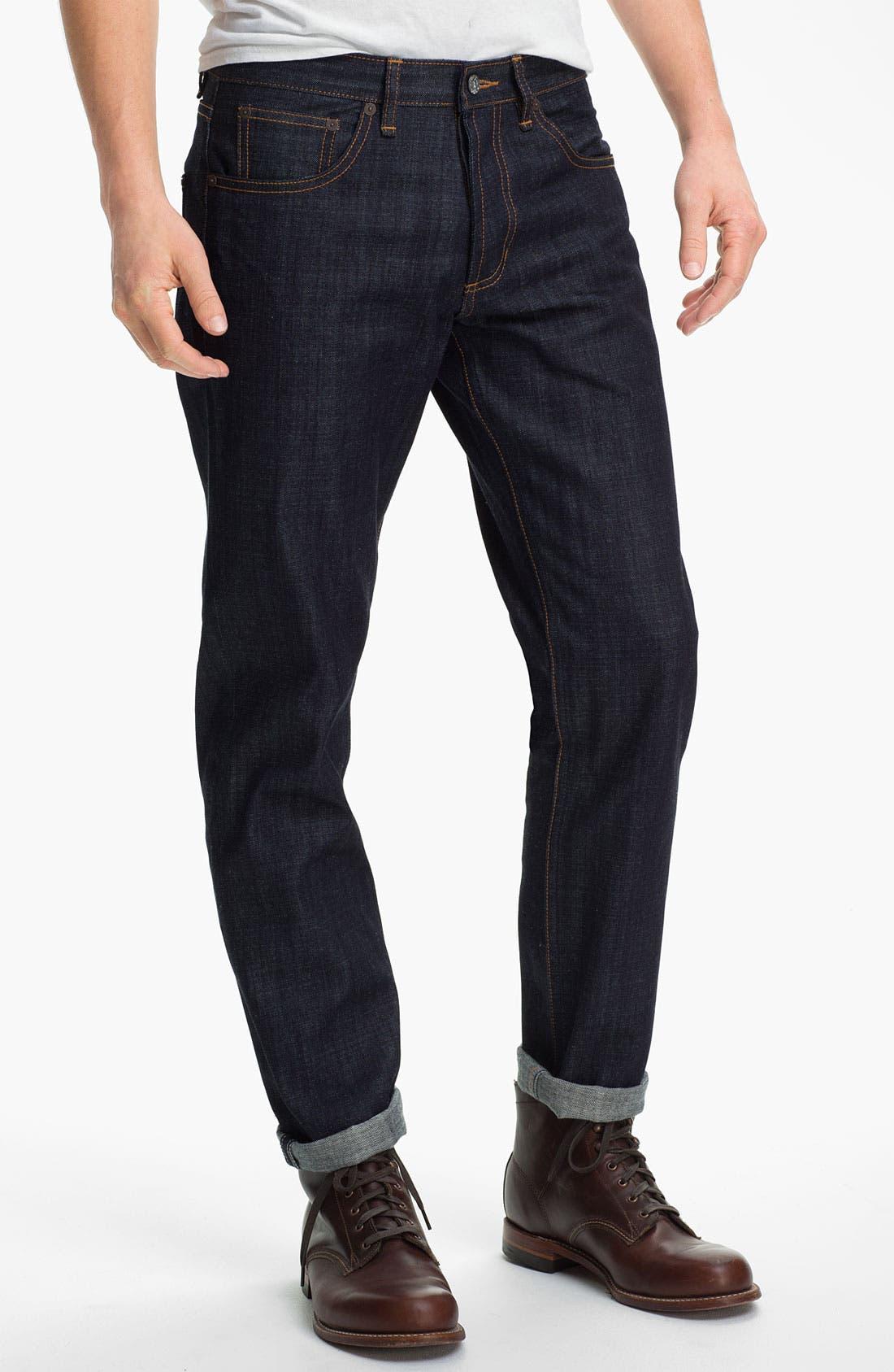 Alternate Image 2  - Obey 'Standard Issue' Slim Straight Leg Jeans (Raw Indigo)