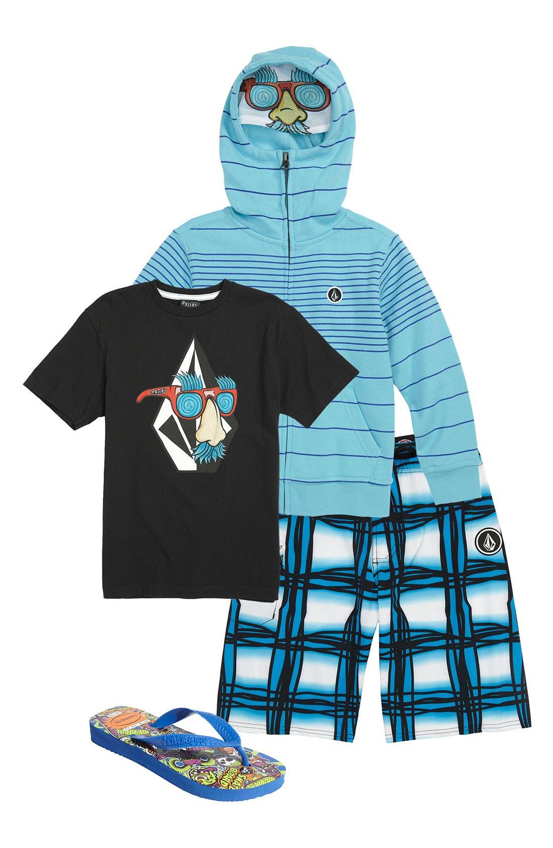 Main Image - Volcom T-Shirt, Hoodie & Board Shorts (Little Boys)