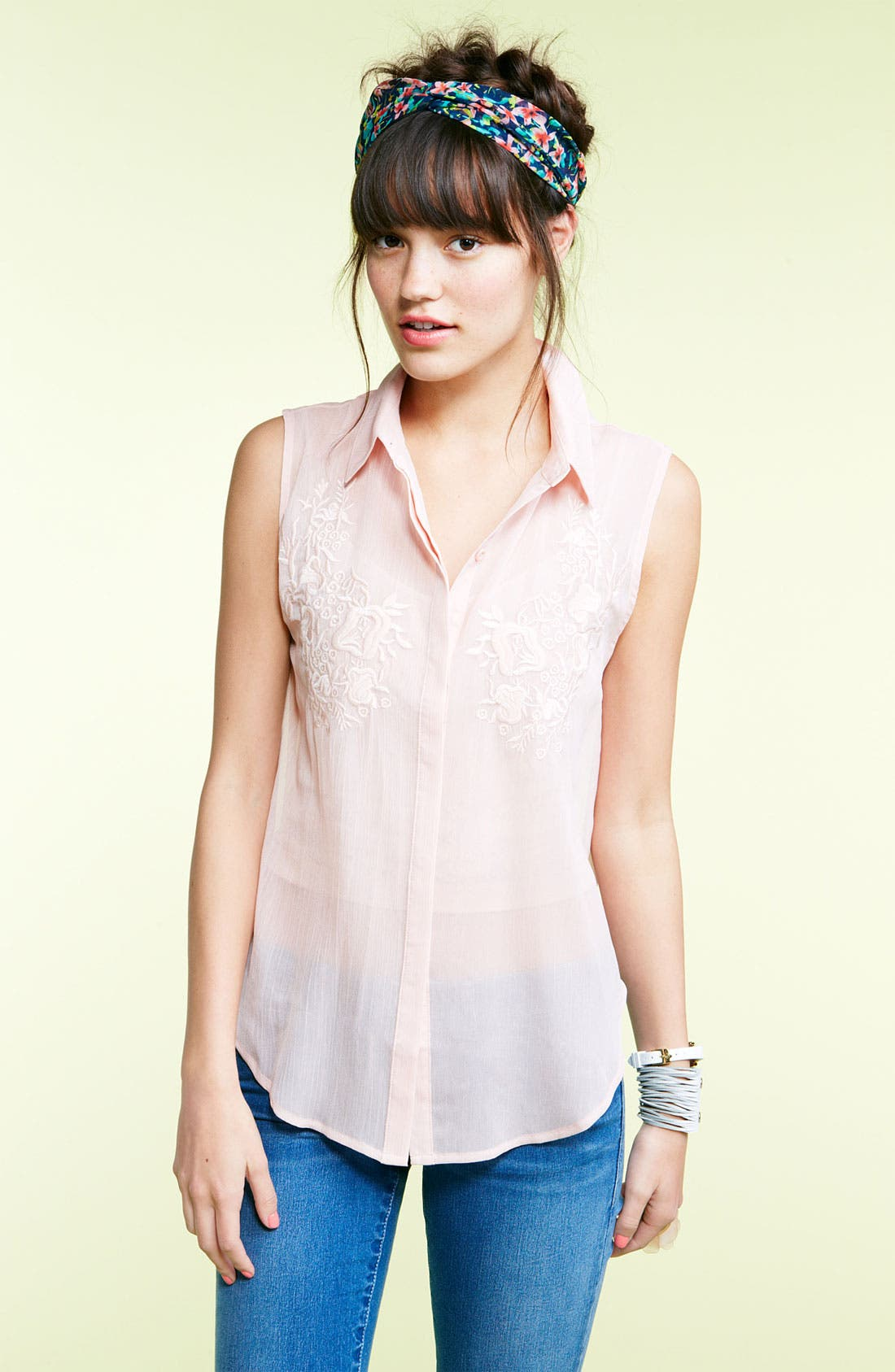 Alternate Image 3  - Lush Embroidered Sheer Sleeveless Shirt (Juniors)