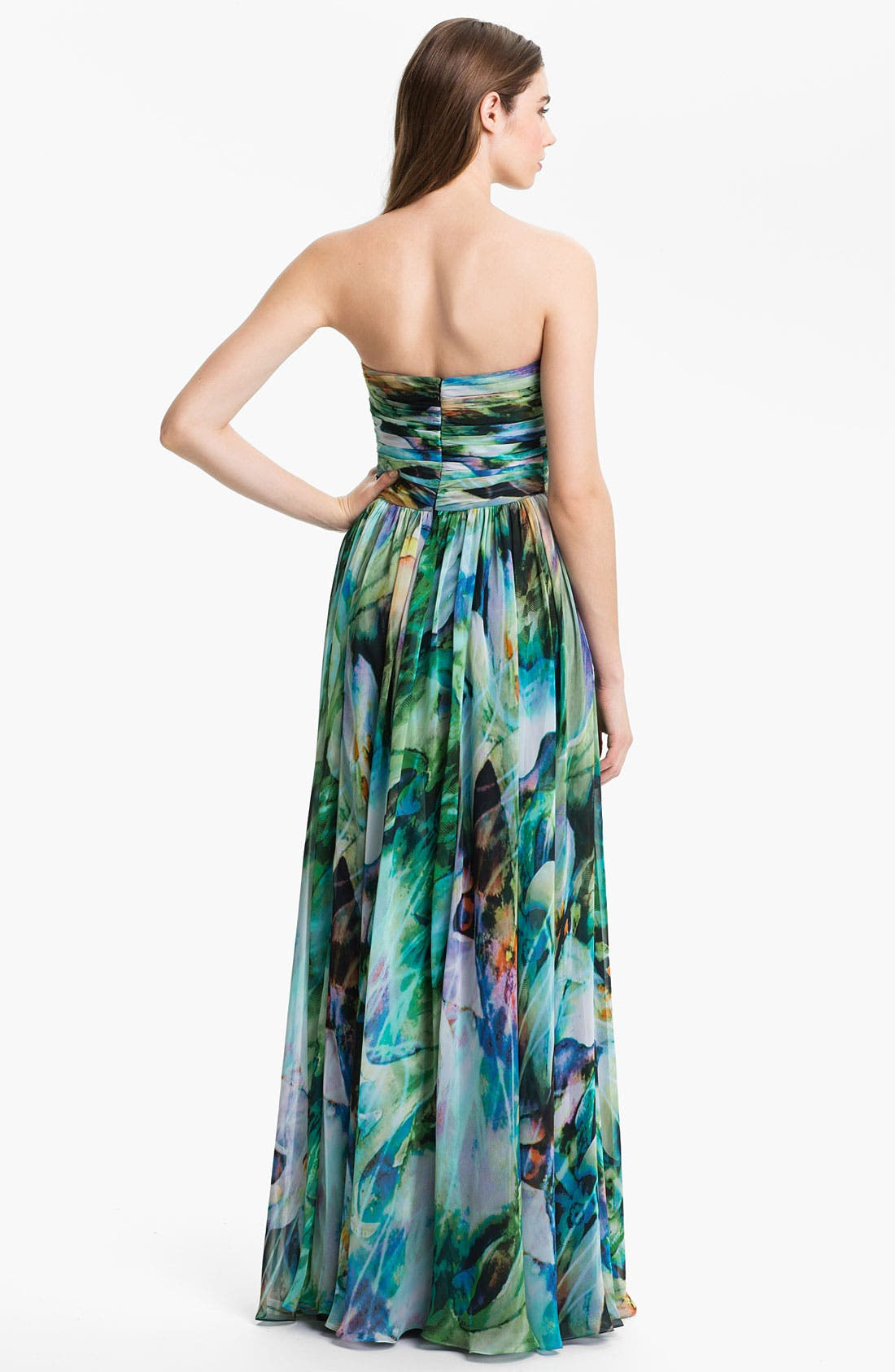 Alternate Image 2  - La Femme Ruched Print Chiffon Gown