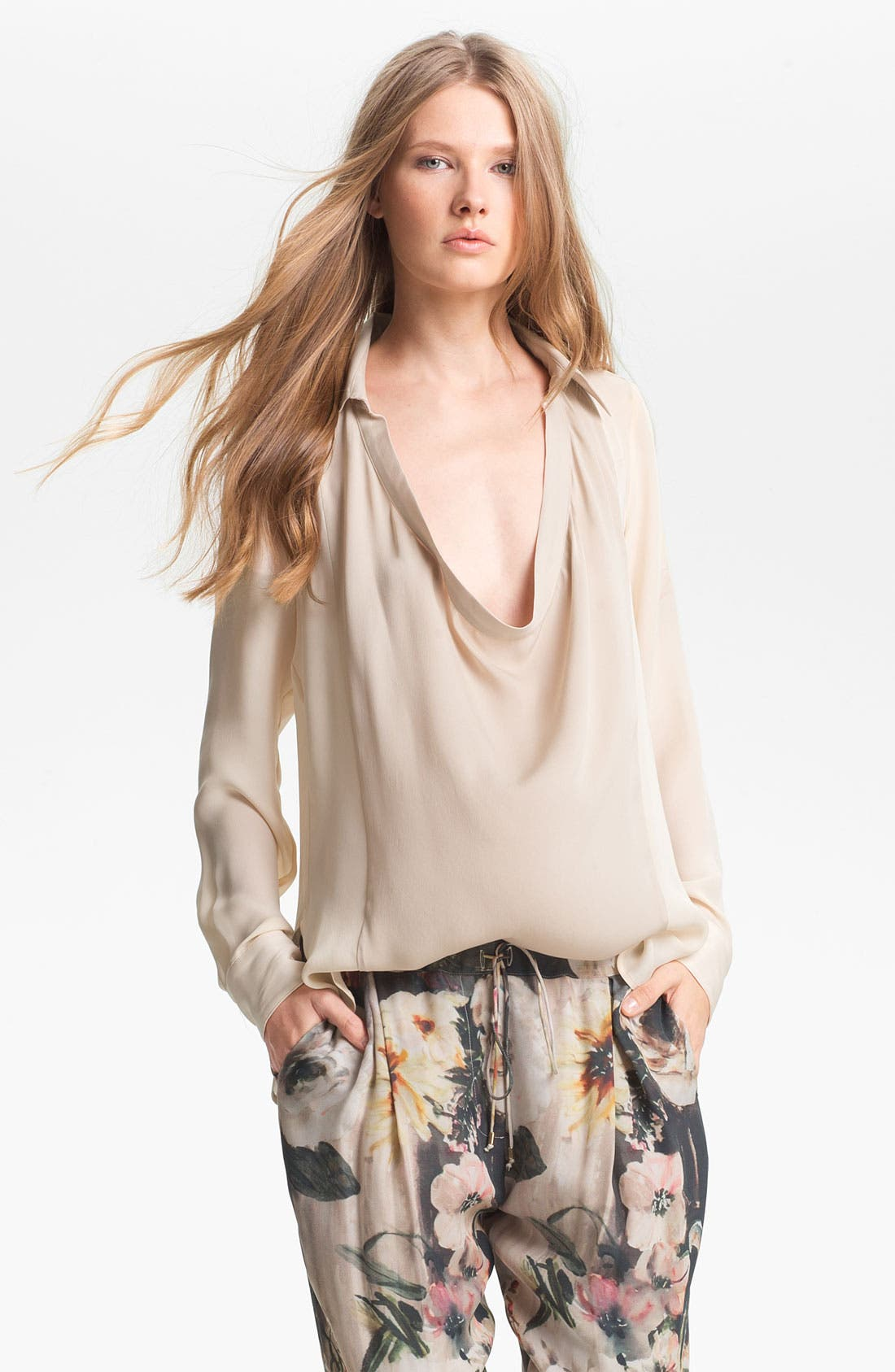 Alternate Image 1 Selected - Haute Hippie Draped Silk Blouse