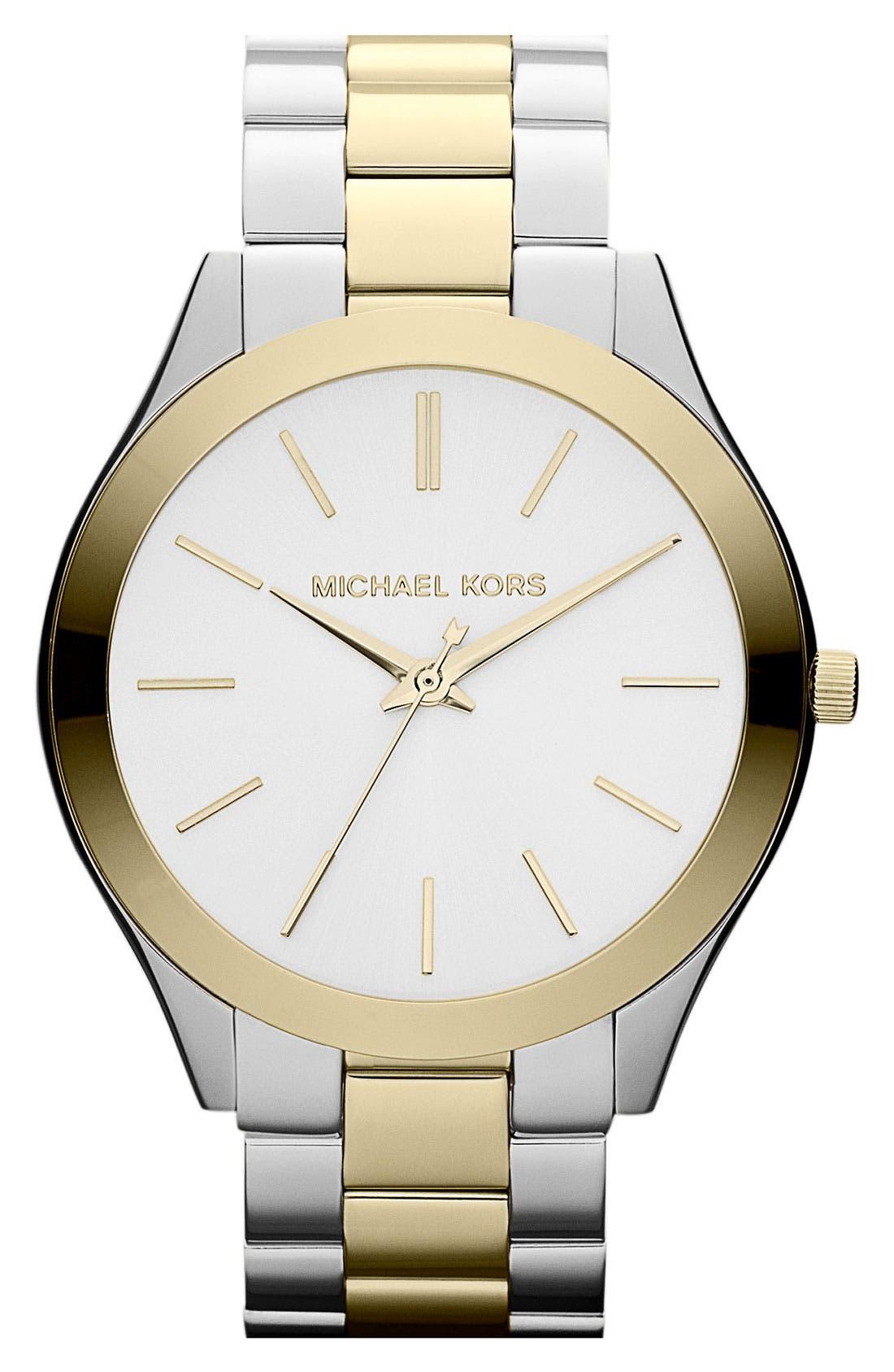 Main Image - Michael Kors 'Slim Runway' Bracelet Watch, 42mm
