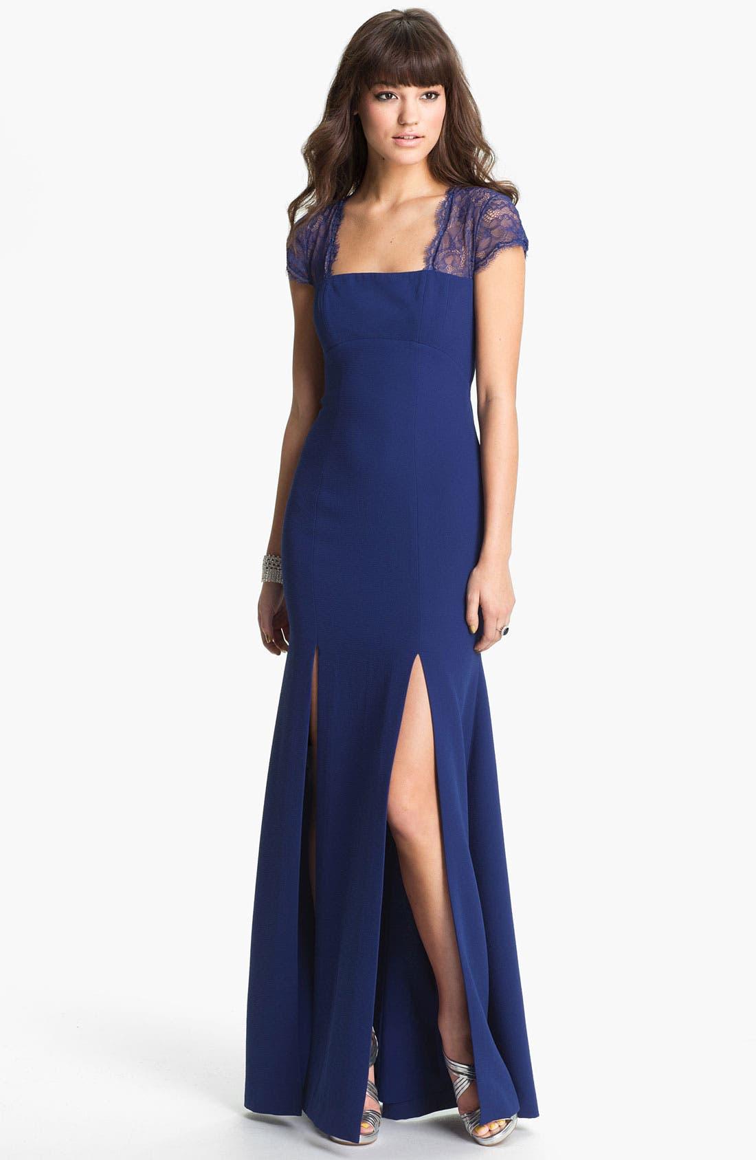 Main Image - BCBGMAXAZRIA Lace Yoke Crepe Gown
