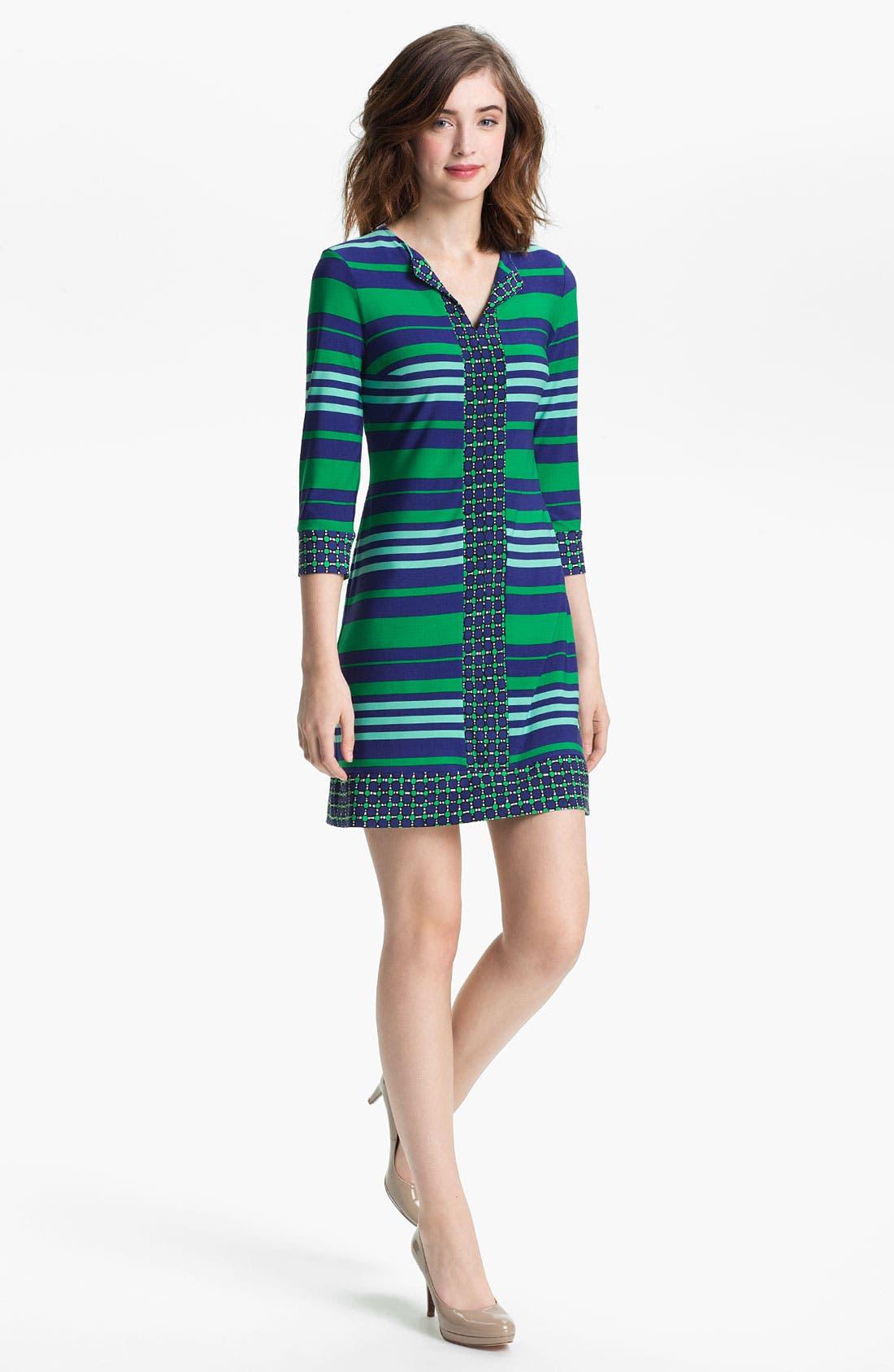 Main Image - Donna Morgan Contrast Print & Stripe Sheath Dress