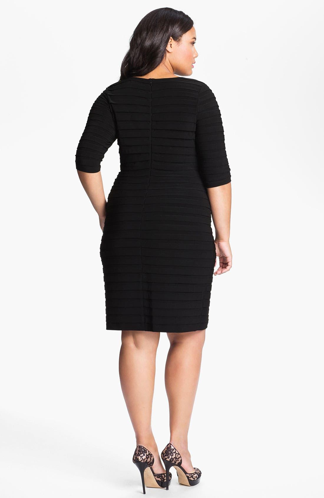 Alternate Image 2  - Adrianna Papell Pleated Jersey Sheath Dress (Plus)