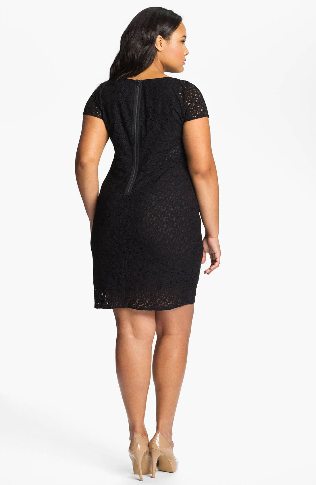 Alternate Image 2  - DKNYC Side Ruched Lace Dress (Plus)
