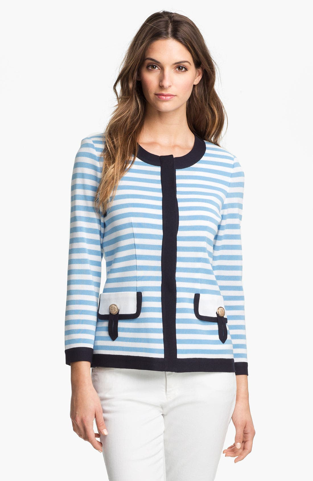 Main Image - Exclusively Misook 'Rebecca' Stripe Jacket (Petite) (Online Exclusive)
