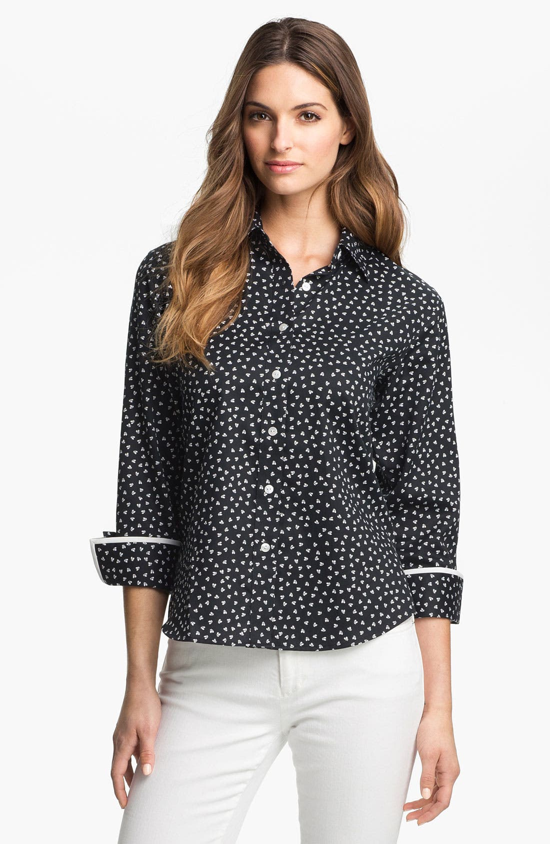 Alternate Image 1 Selected - Foxcroft 'Falling Blossoms' Shirt (Petite)