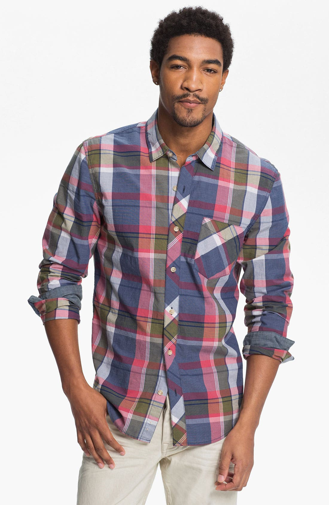 Main Image - 1901 Washed Poplin Plaid Woven Shirt