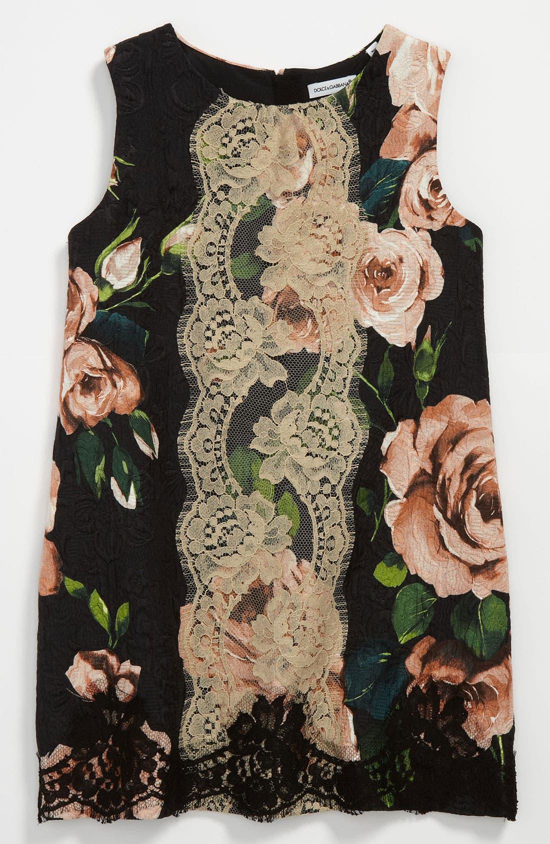 Main Image - Dolce&Gabbana Floral Jacquard Dress (Little Girls & Big Girls)