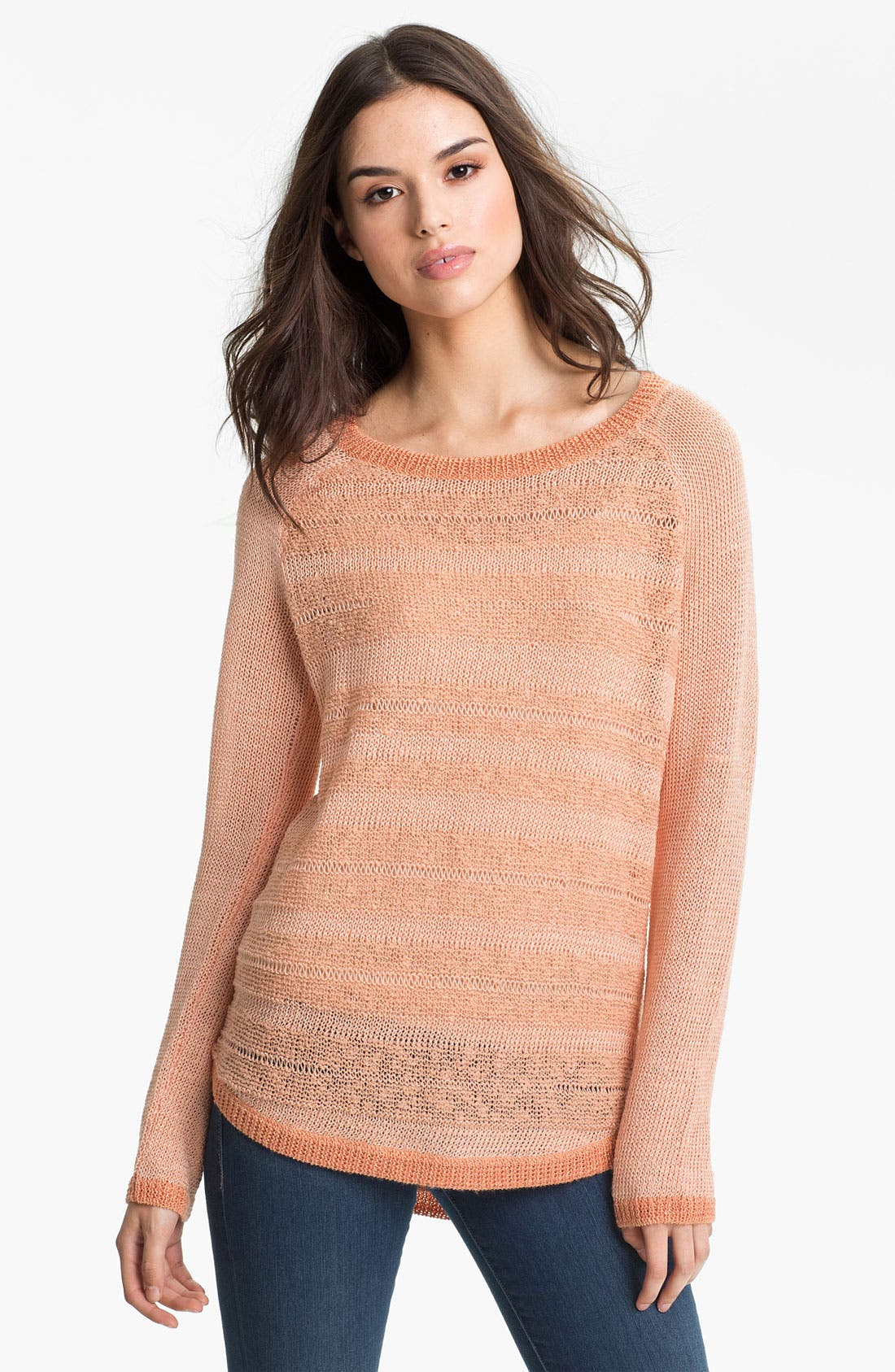 Alternate Image 1 Selected - Trouvé Sheer Stripe Slub Sweater