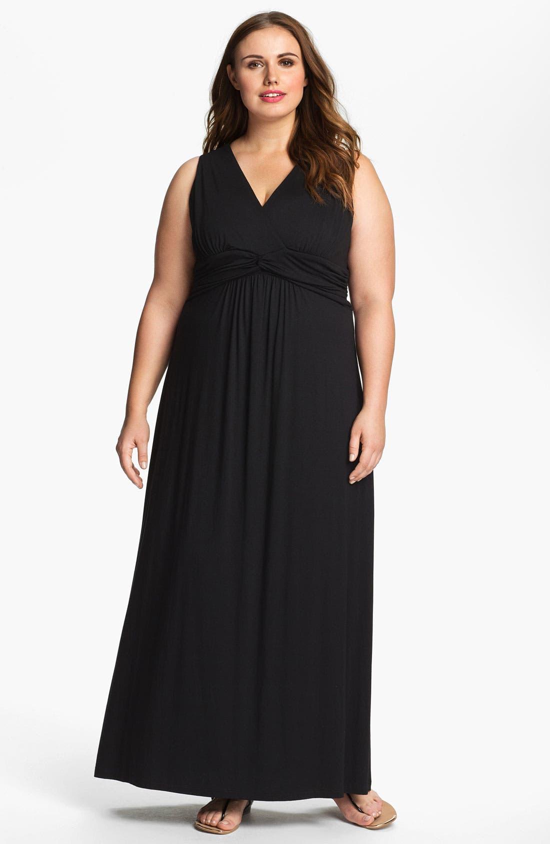 Main Image - Karen Kane Front Twist Sleeveless Maxi Dress (Plus Size) (Online Only)