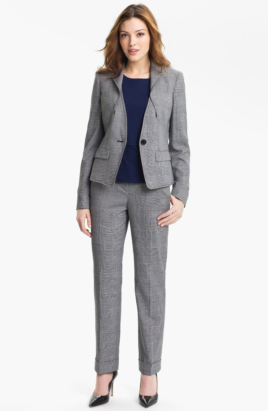 Alternate Image 4  - Anne Klein Cuffed Glen Plaid Pants (Petite)