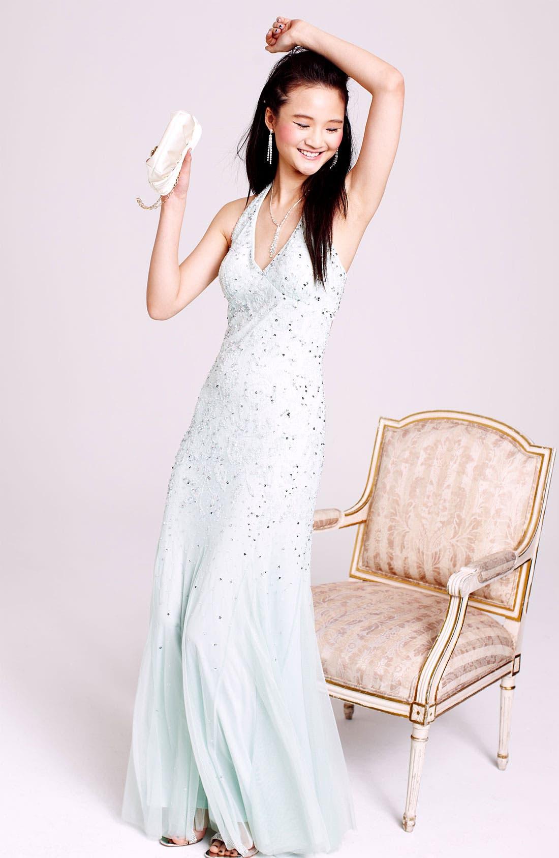 Alternate Image 3  - Adrianna Papell Beaded Mesh Halter Gown