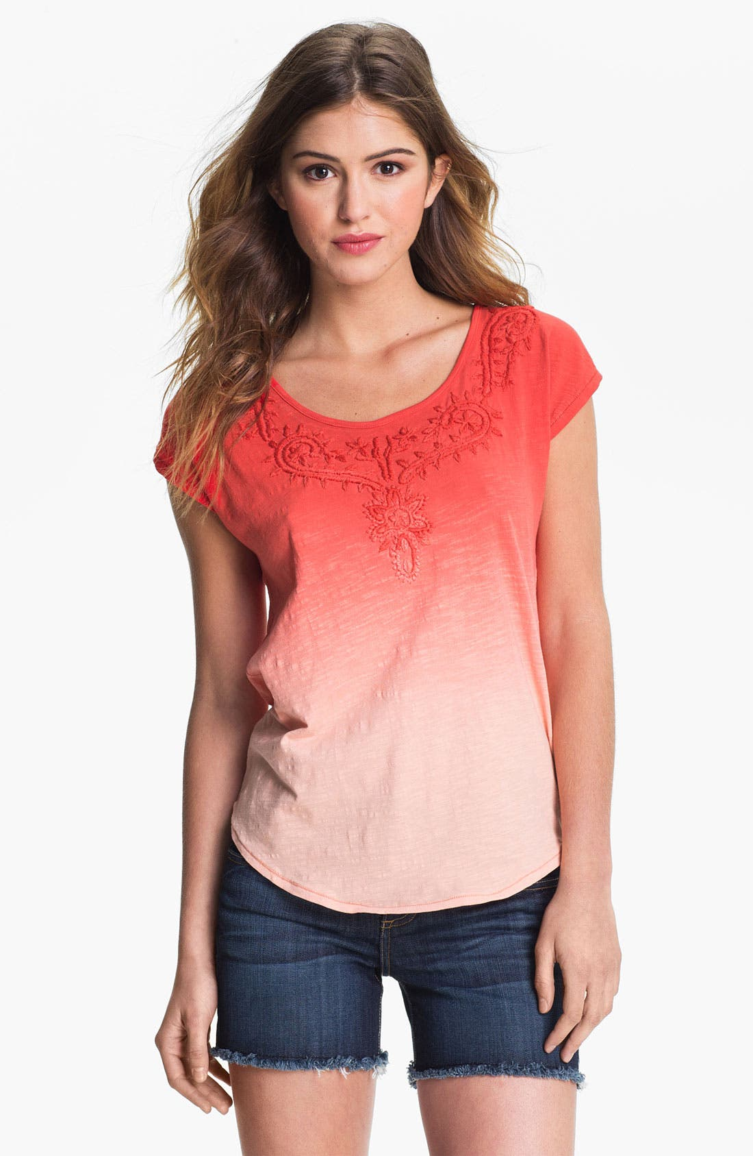 Alternate Image 1 Selected - Lucky Brand Embroidered Dip Dye Tee