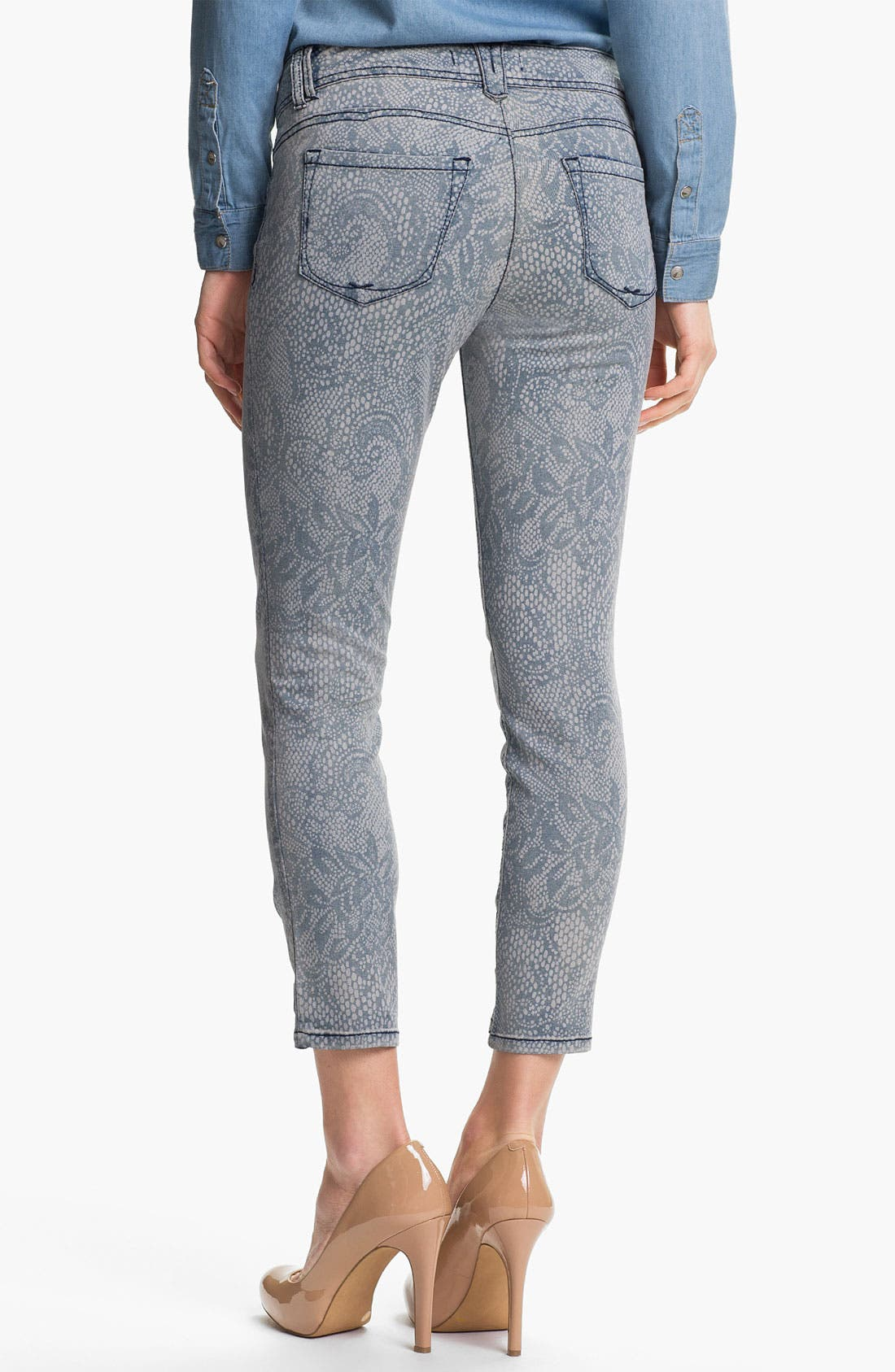 Alternate Image 2  - Wit & Wisdom Lace Print Crop Jeans (Indigo) (Nordstrom Exclusive)