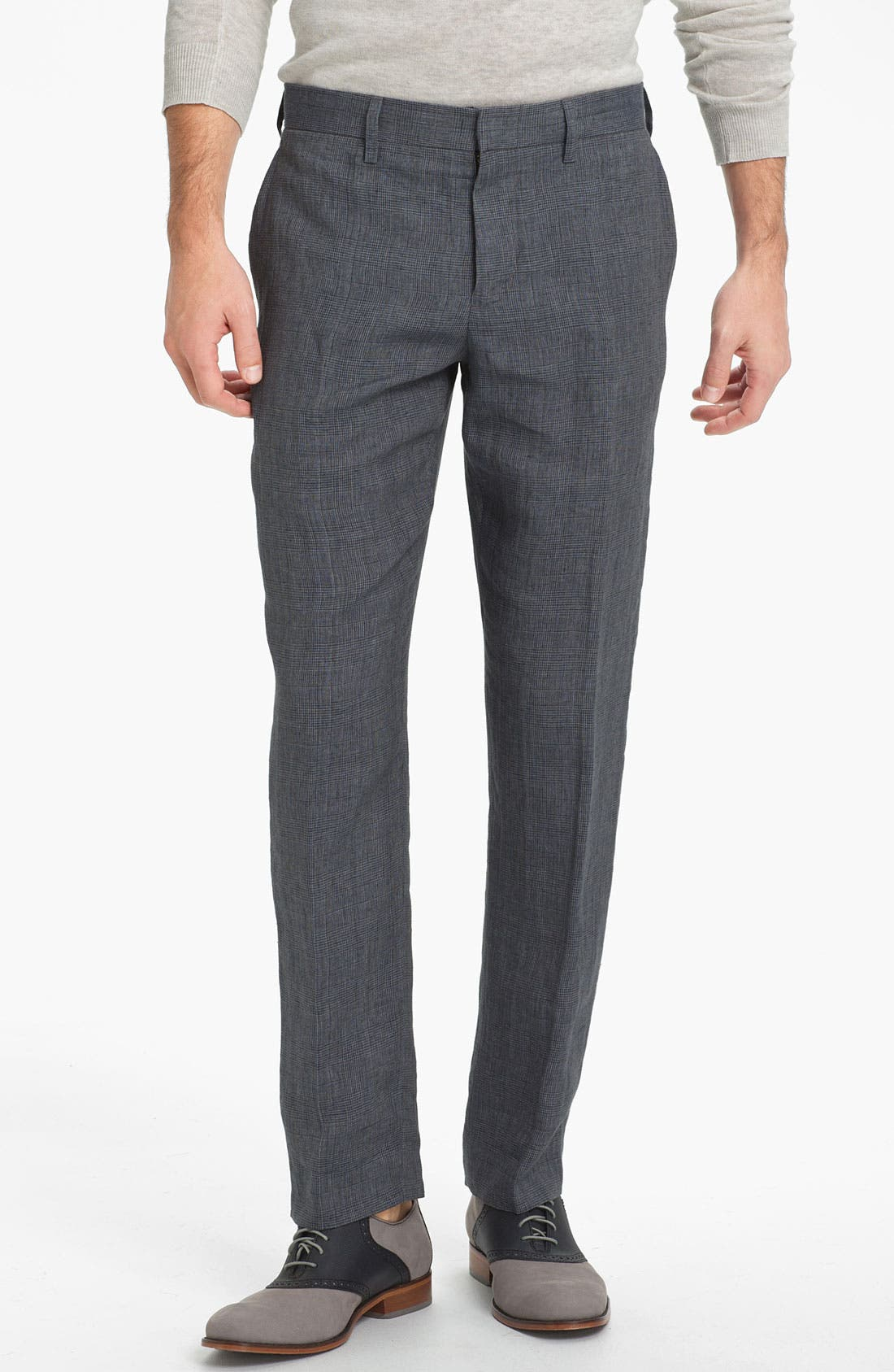 Main Image - Vince Prince of Wales Flat Front Linen Trousers