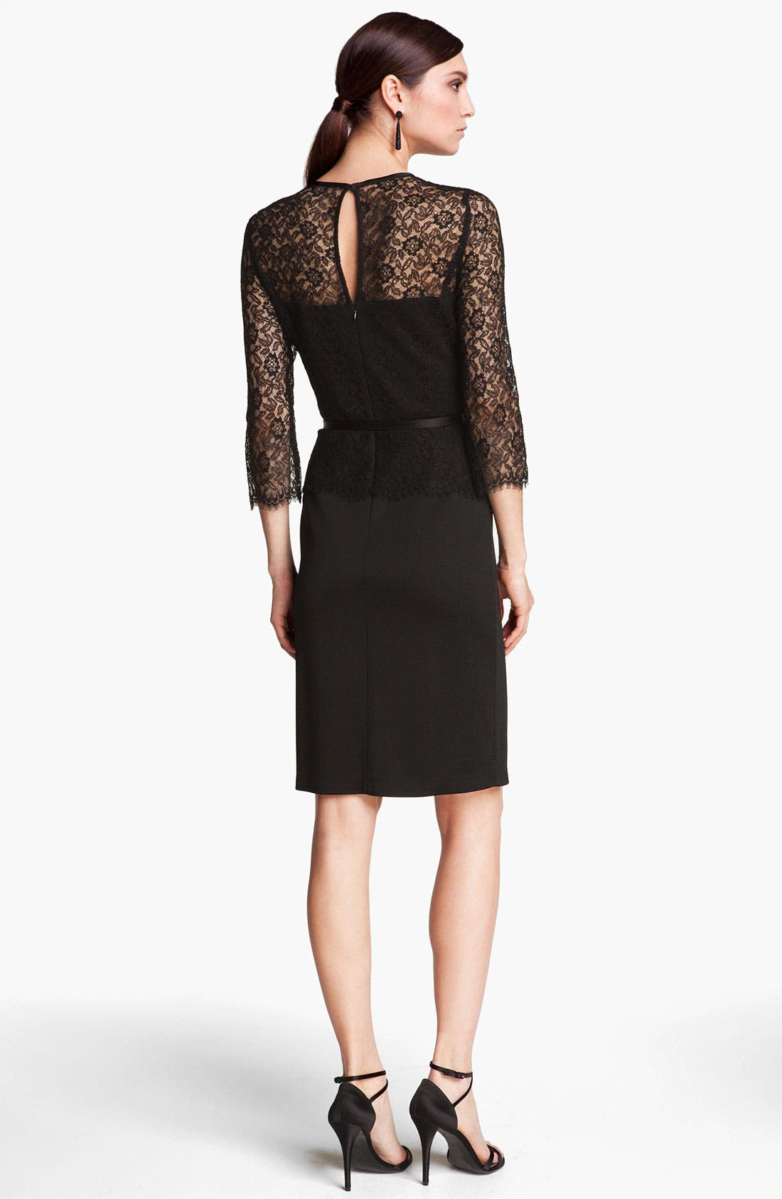 Alternate Image 2  - St. John Collection Belted Floral Lace & Sateen Milano Dress