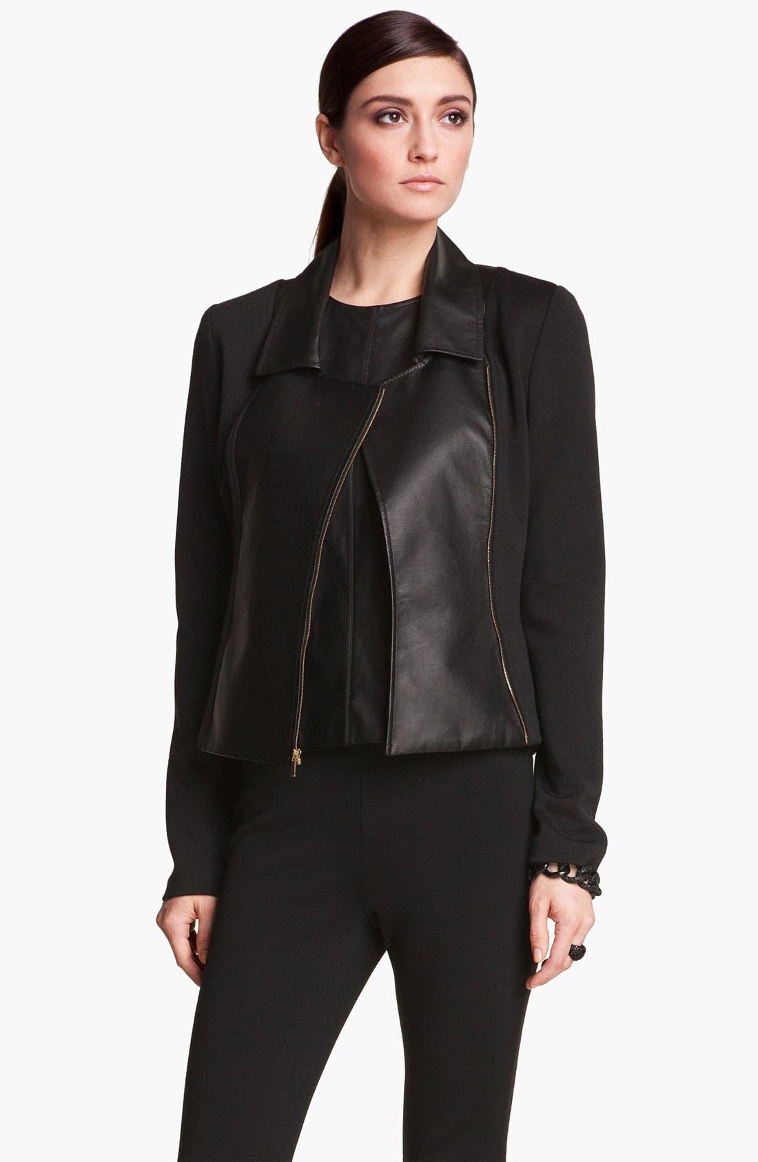 Main Image - St. John Collection Leather & Milano Knit Moto Jacket