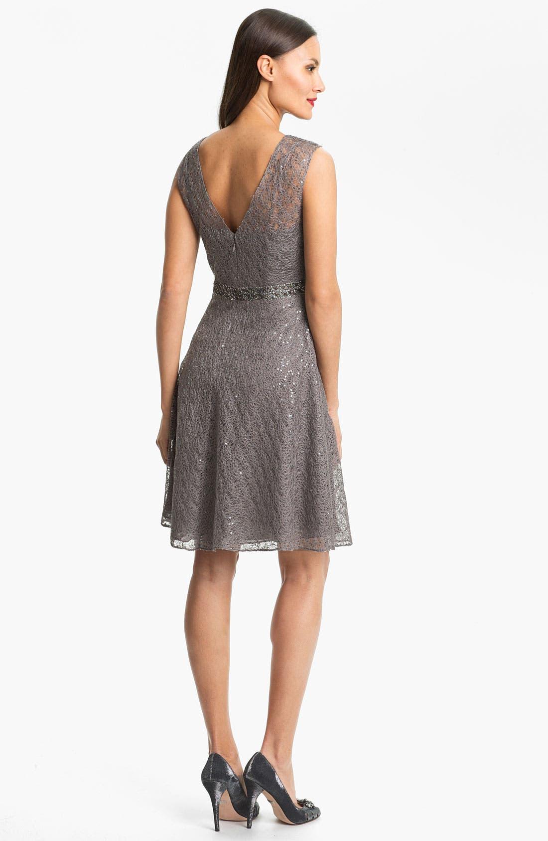 Alternate Image 2  - Kay Unger Sequin Embellished Lace Dress