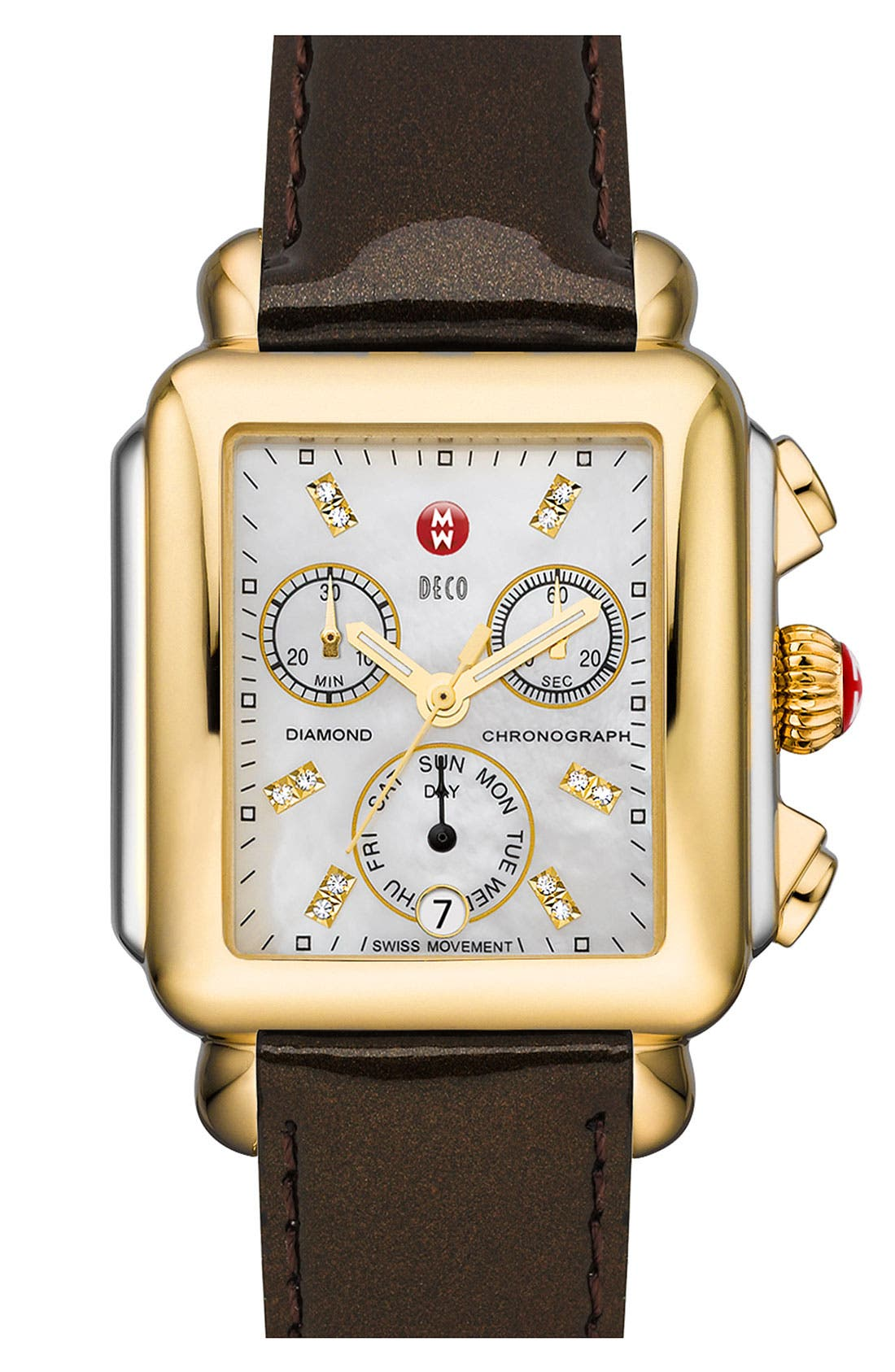 Alternate Image 1 Selected - MICHELE 'Deco' Diamond Dial Two Tone Customizable Watch